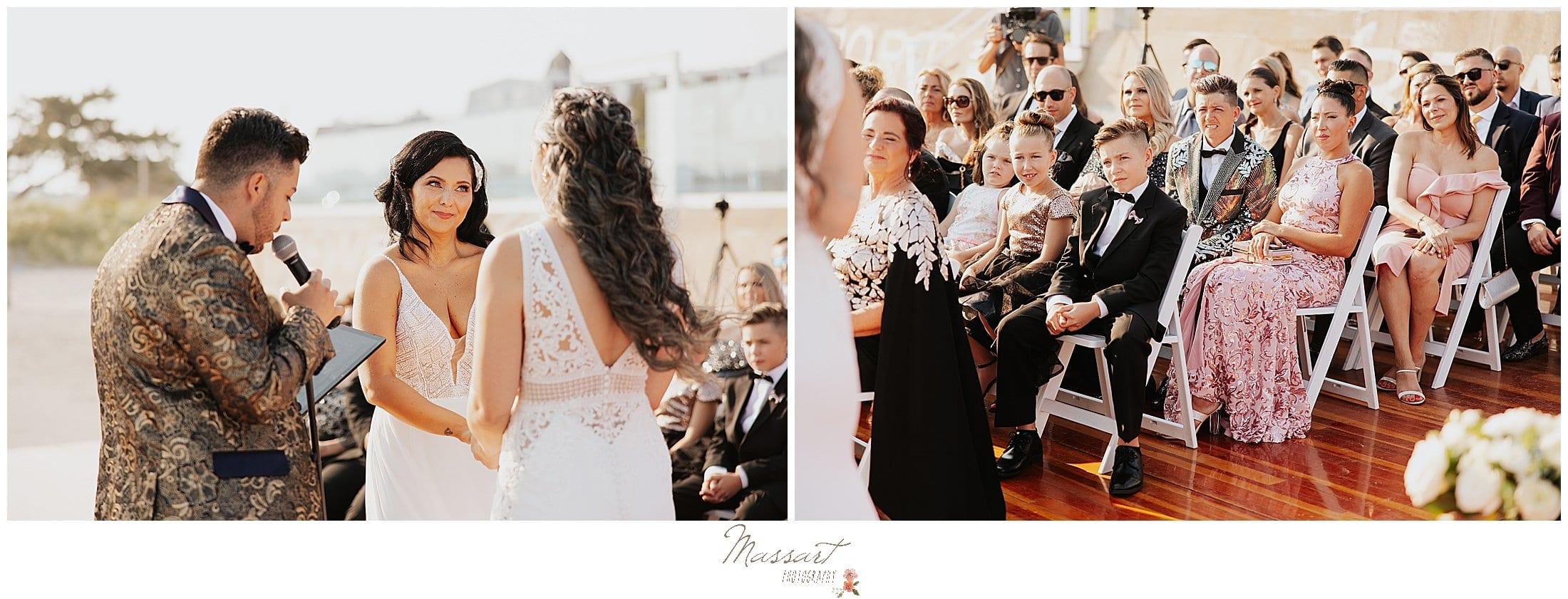 women exchange vows during Newport Beach House wedding ceremony