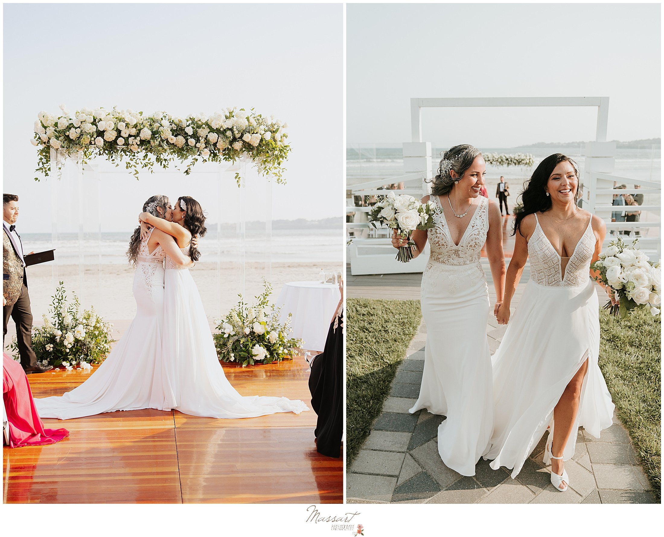 brides kiss during waterfront ceremony