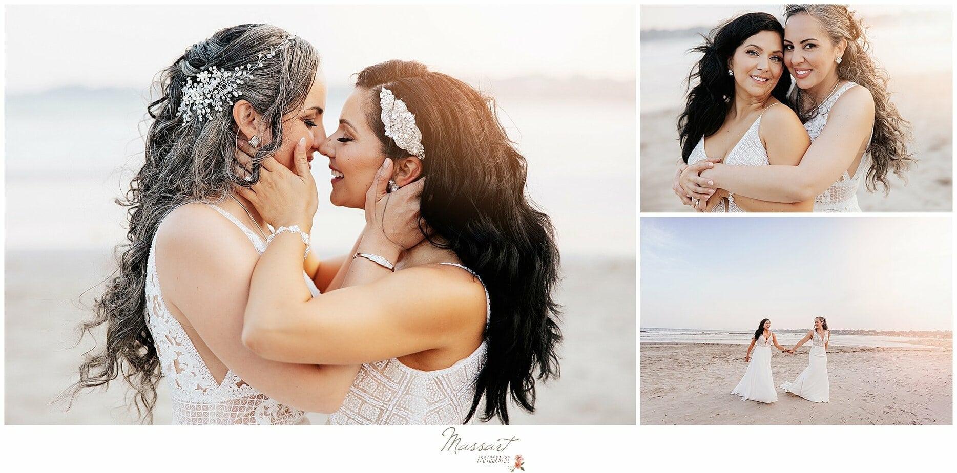 brides kiss on beach before Newport Beach House reception