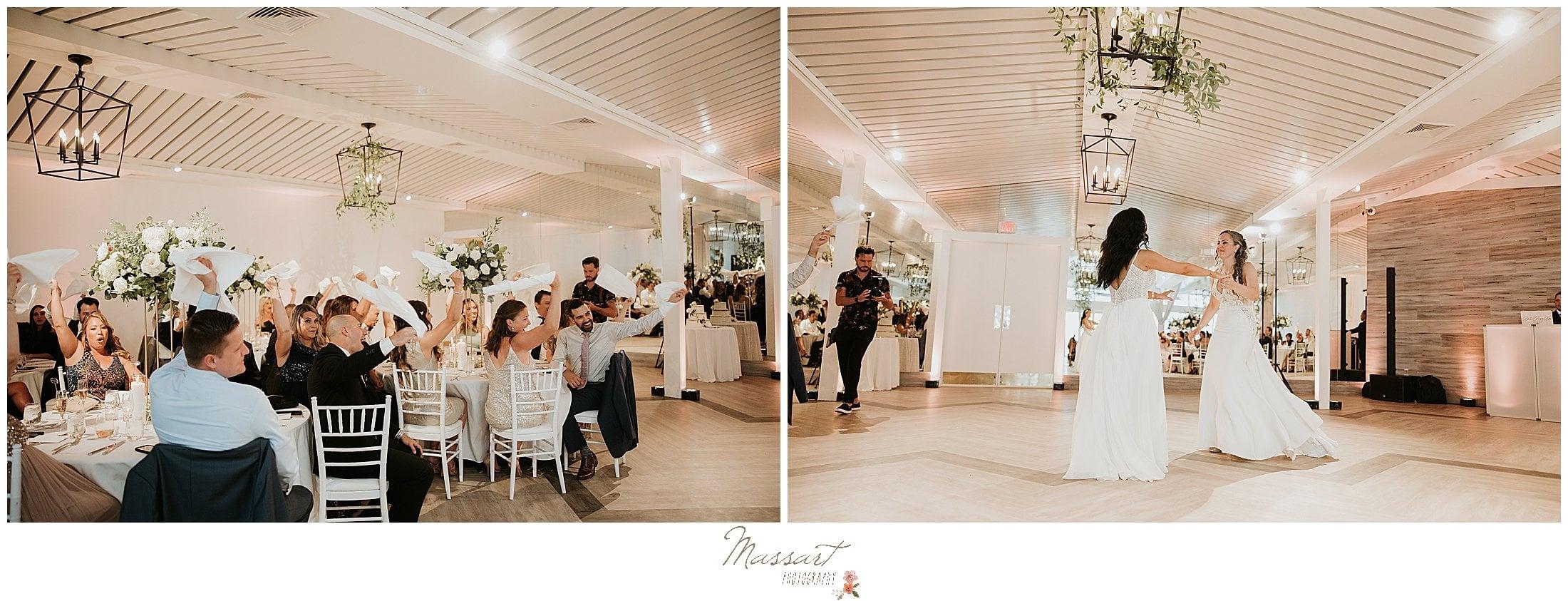 brides enter reception at Newport Beach House