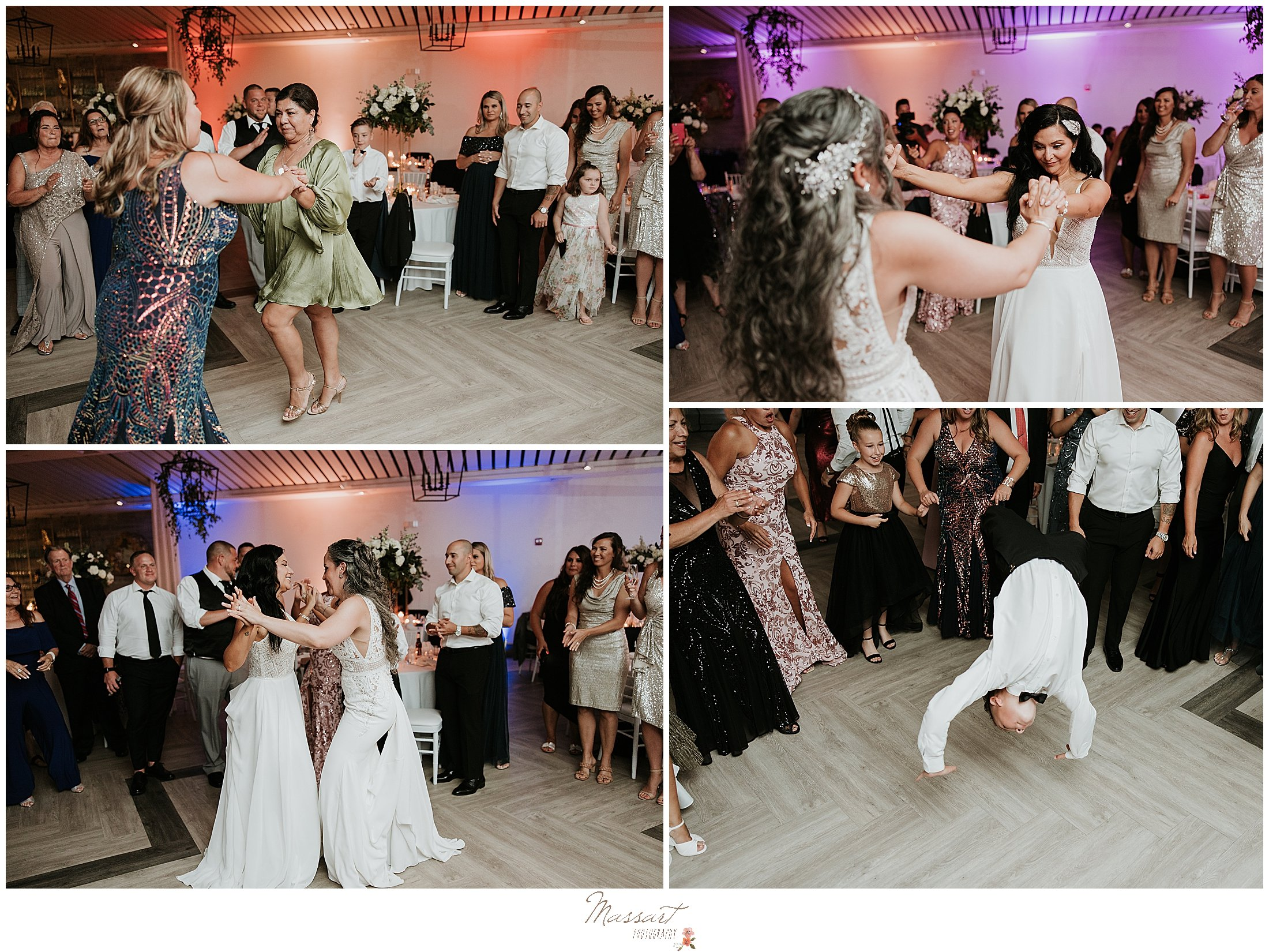 brides dance with guests at Newport Beach House