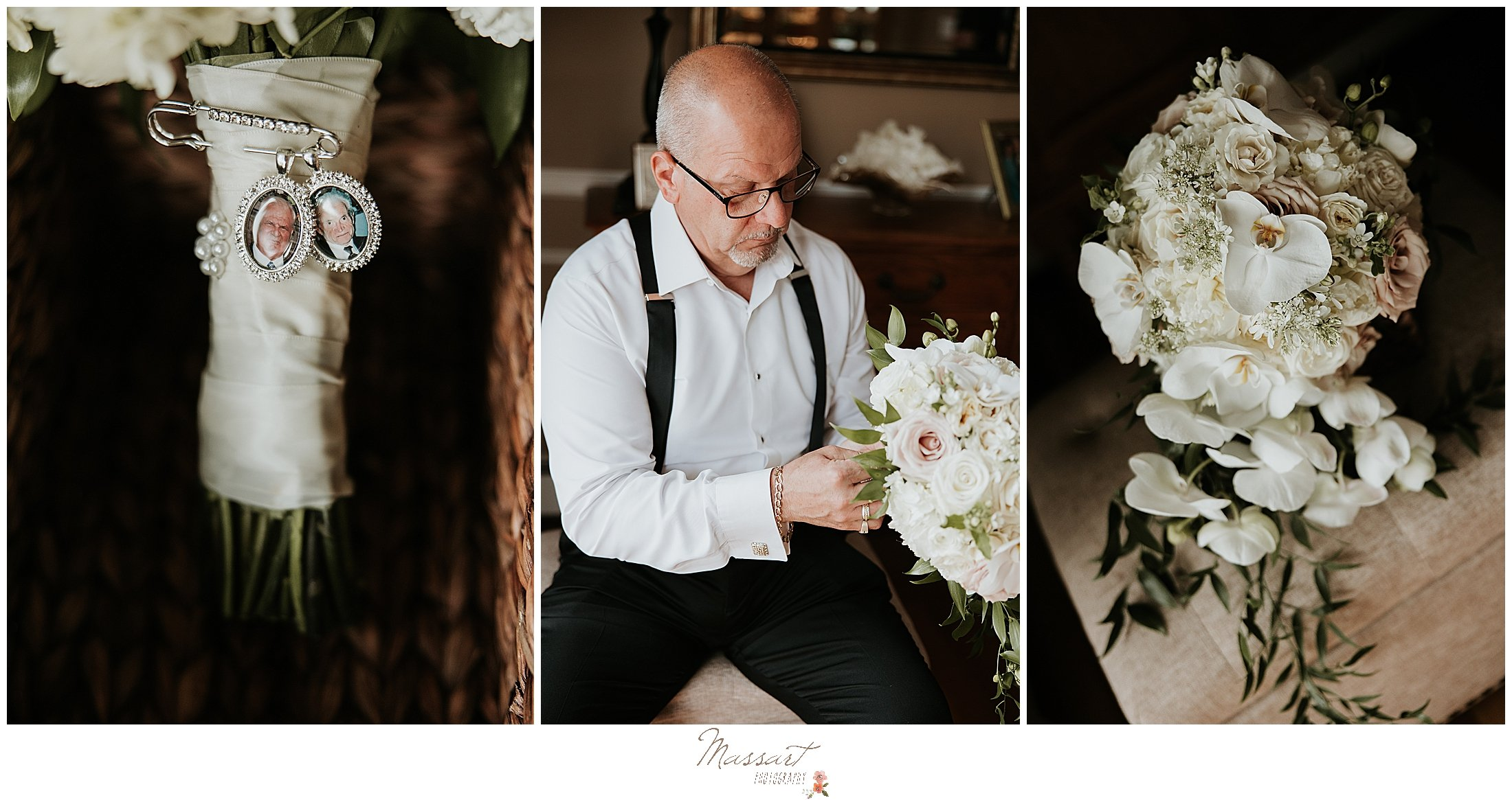 father of bride finishes bride's bouquet for RI wedding