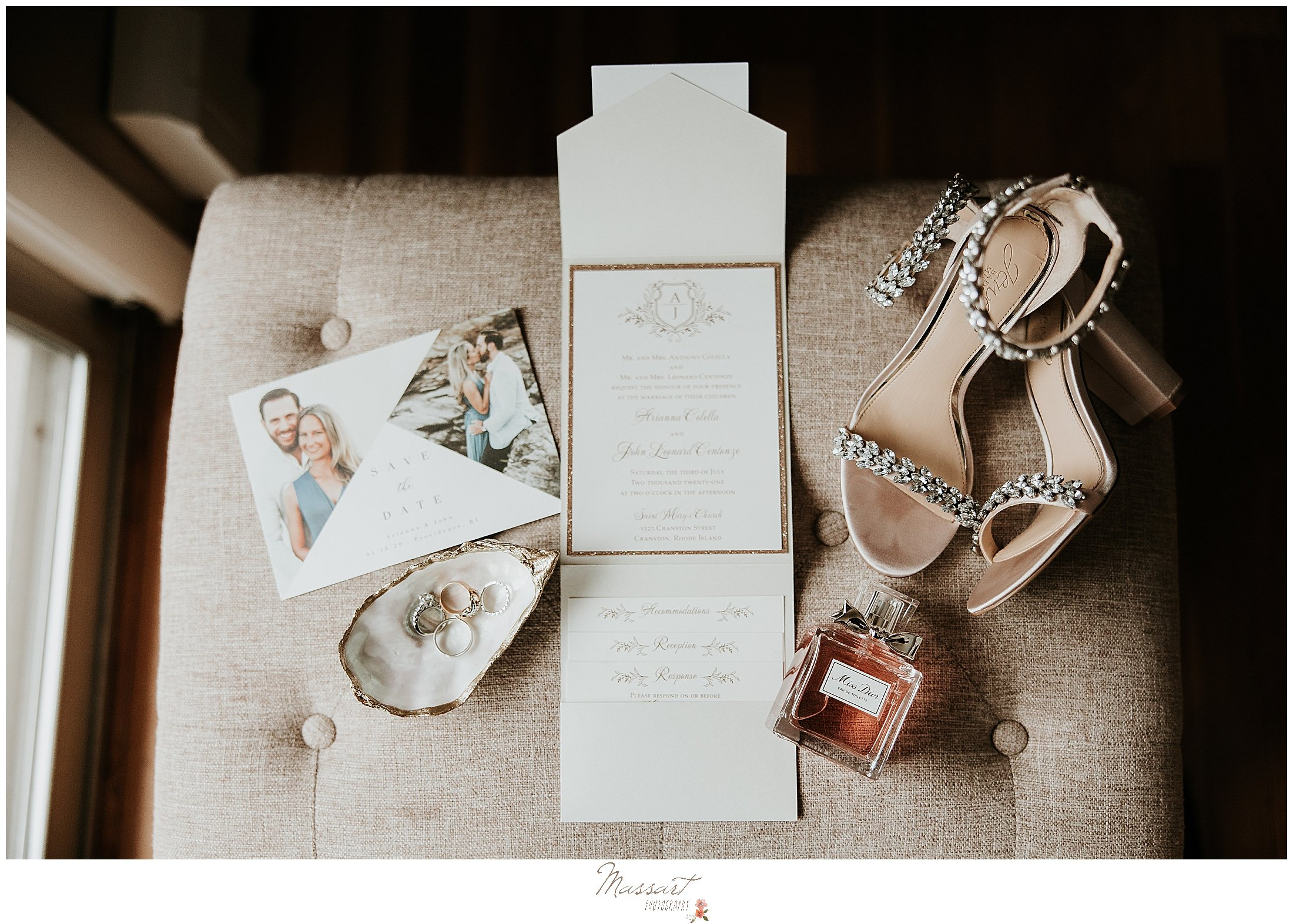 invitation suite and shoes for Providence RI wedding day