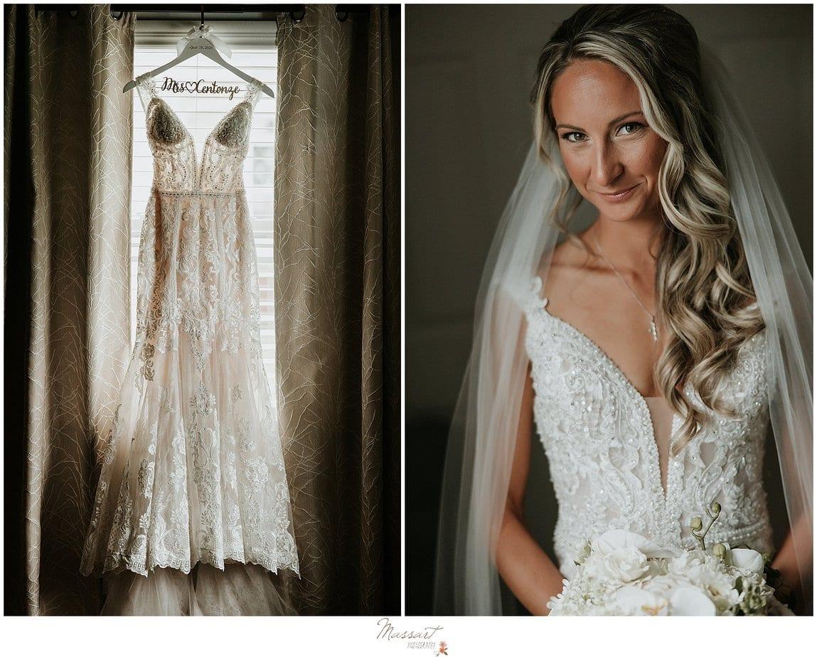 bride smiles with veil around shoulders before RI wedding