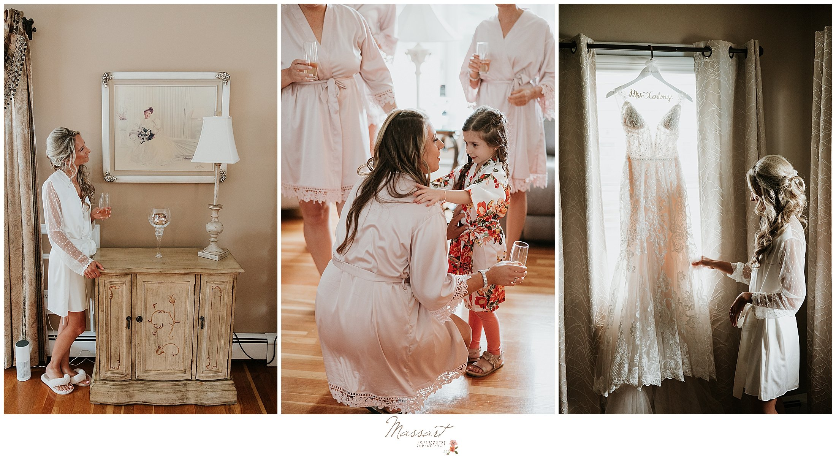 bride looks at wedding dress before Graduate Hotel wedding