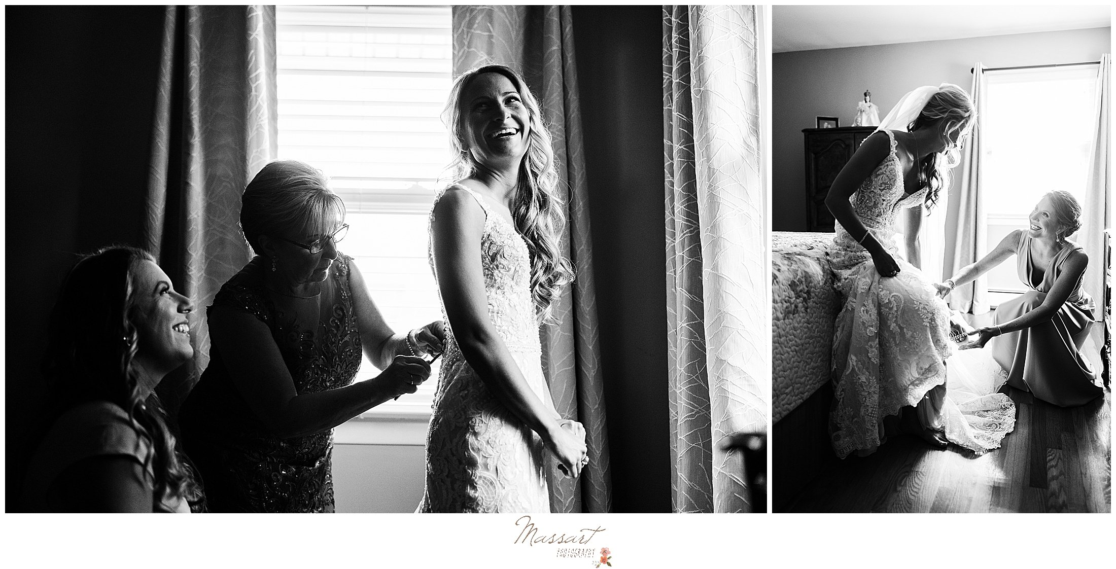 mother and bridesmaid help bride with wedding dress