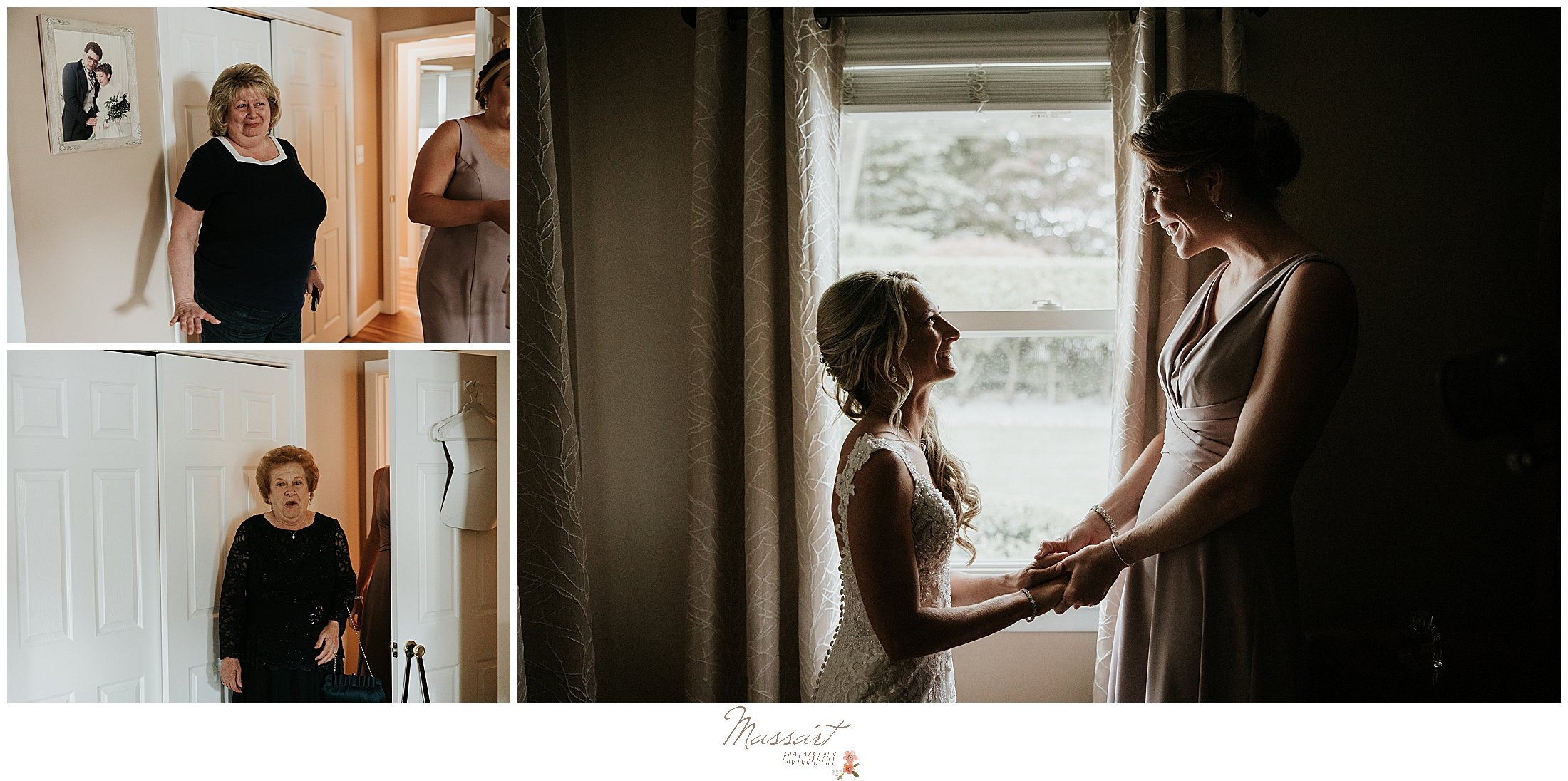 bride prepares for wedding day with family