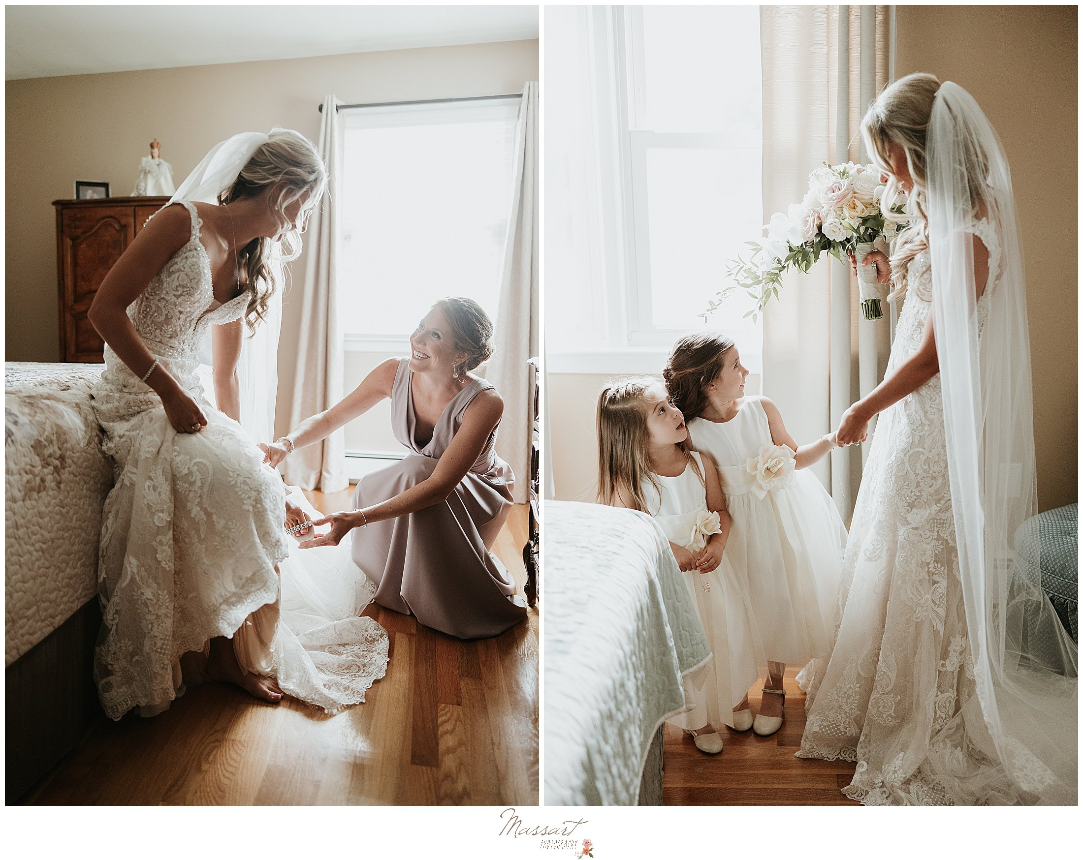 bridesmaid helps bride with shoes before Graduate Hotel wedding