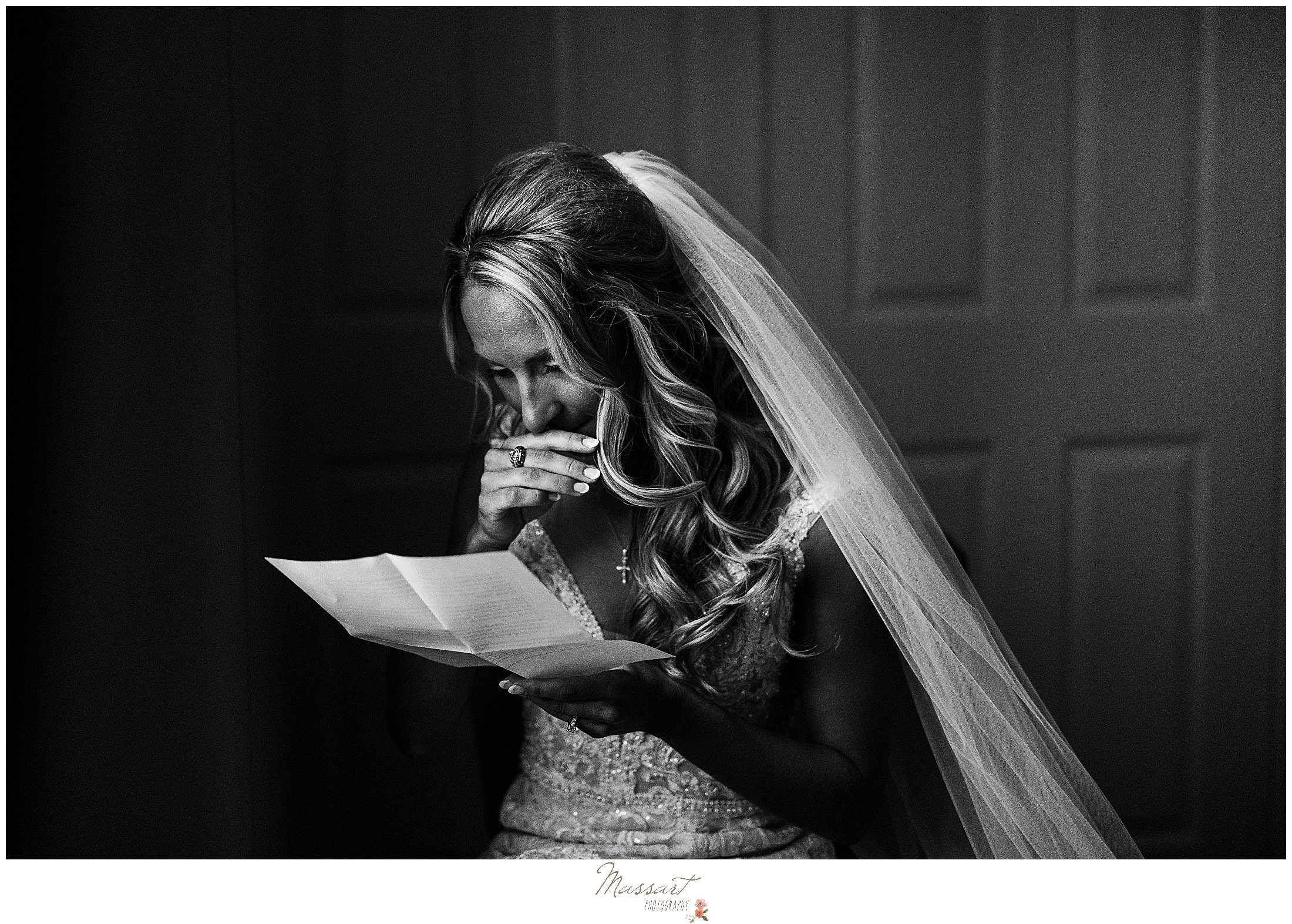 bride cries reading letter on wedding day