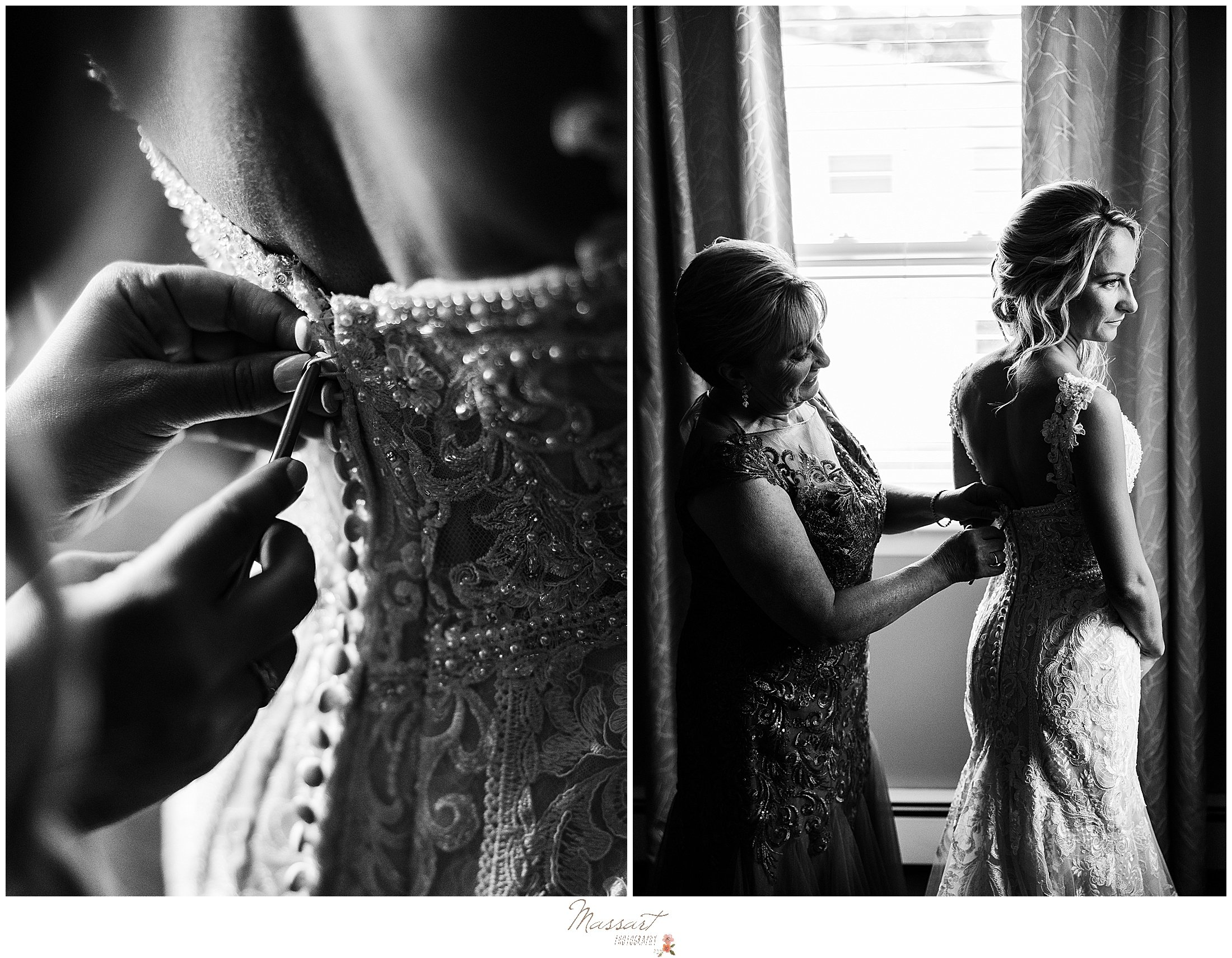 mother of the bride helps bride with wedding gown