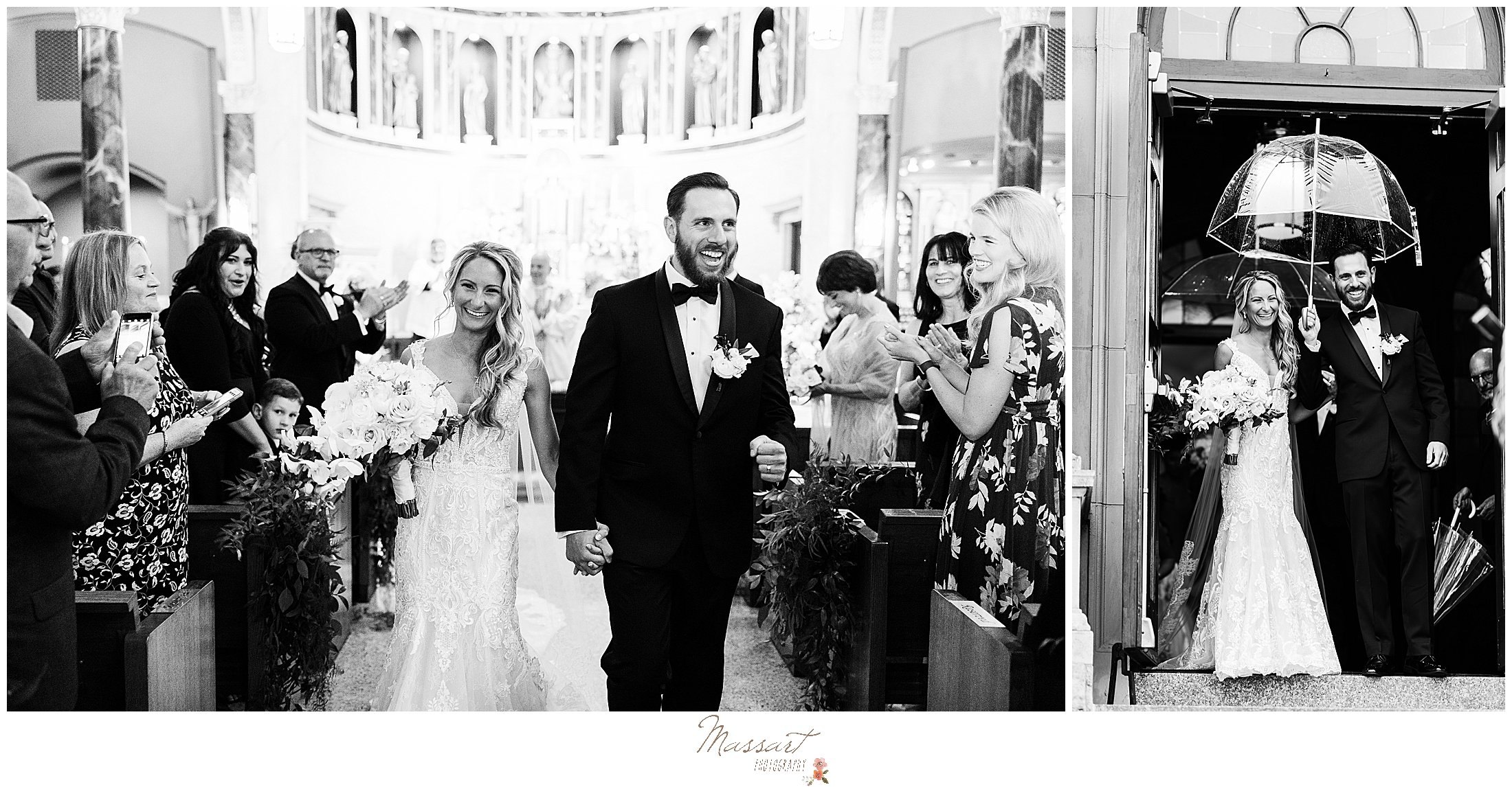 newlyweds leave traditional church wedding in St. Mary's Catholic Church