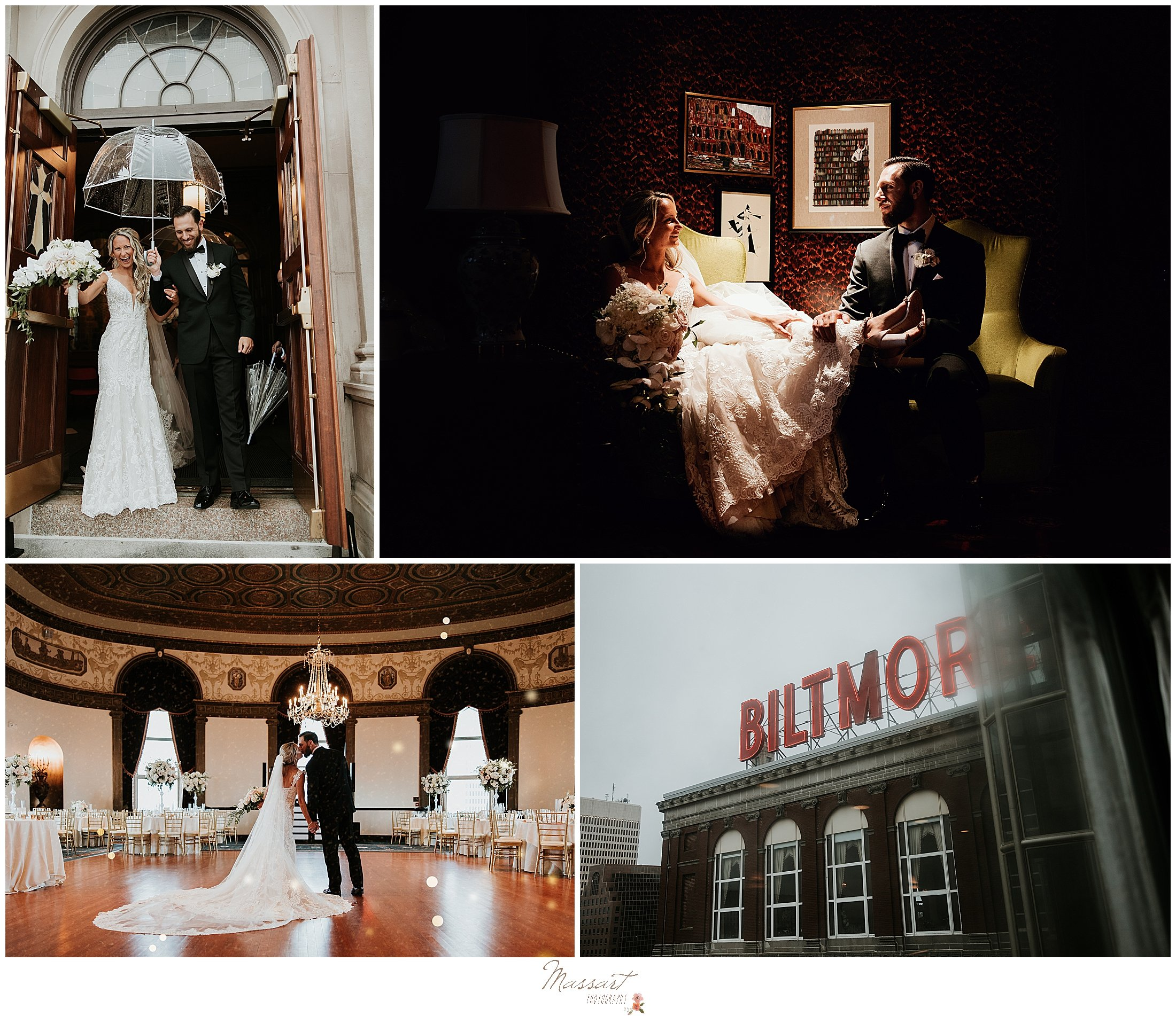 newlywed portraits in the Biltmore Hotel