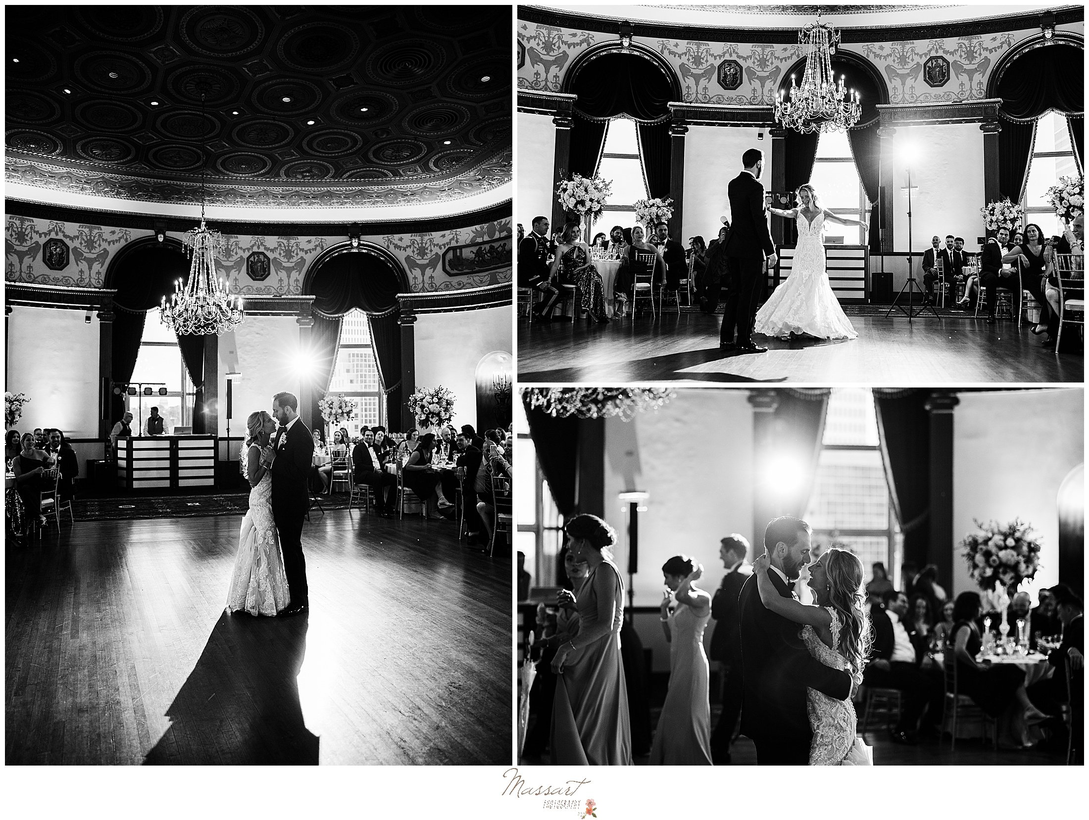 newlyweds have first dance during Providence RI wedding reception