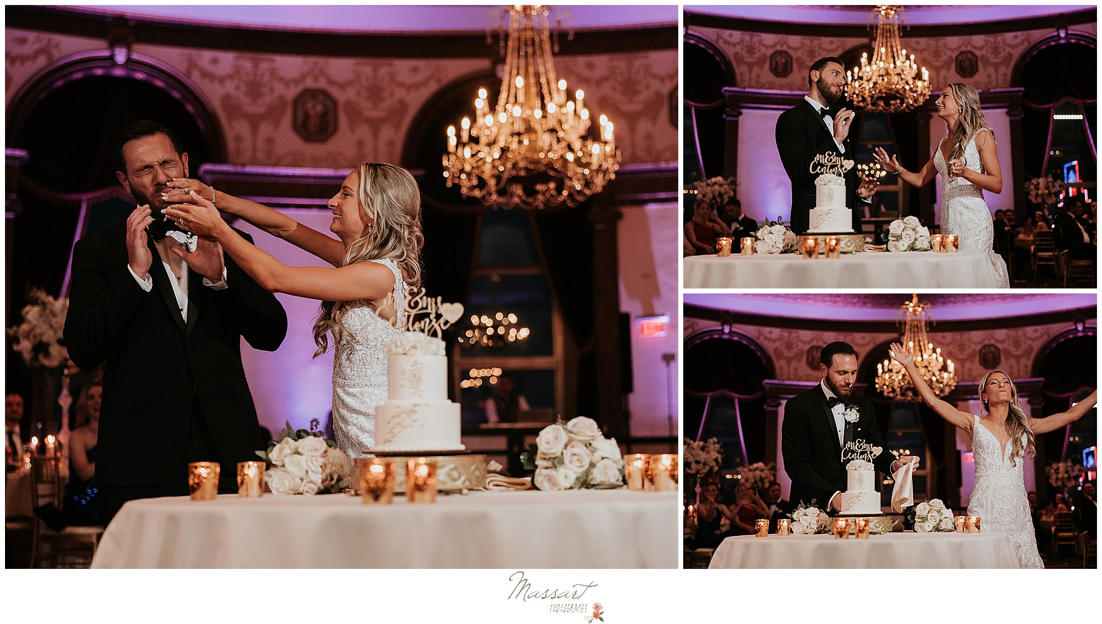 bride smashes cake into groom's face during Providence RI wedding reception