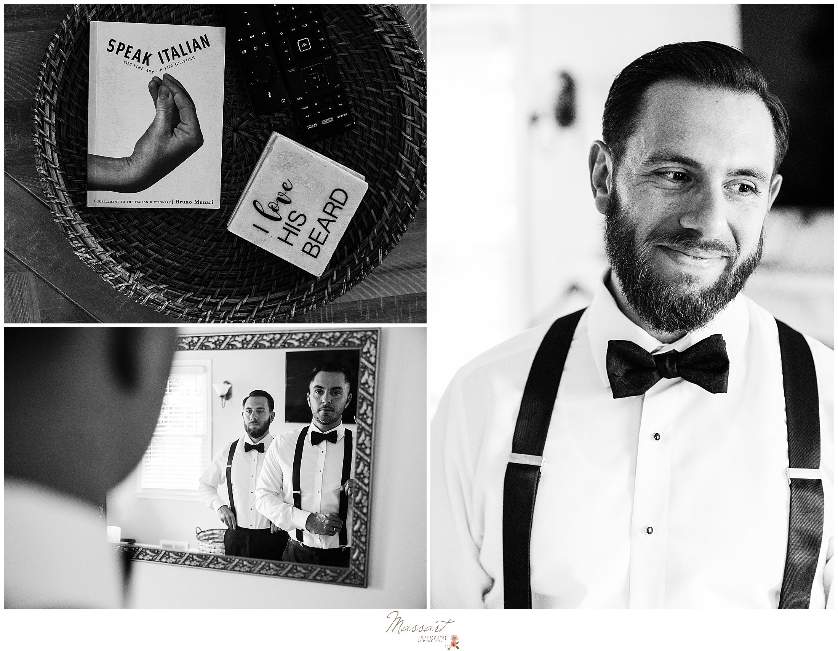 groom prepares for Graduate Hotel wedding