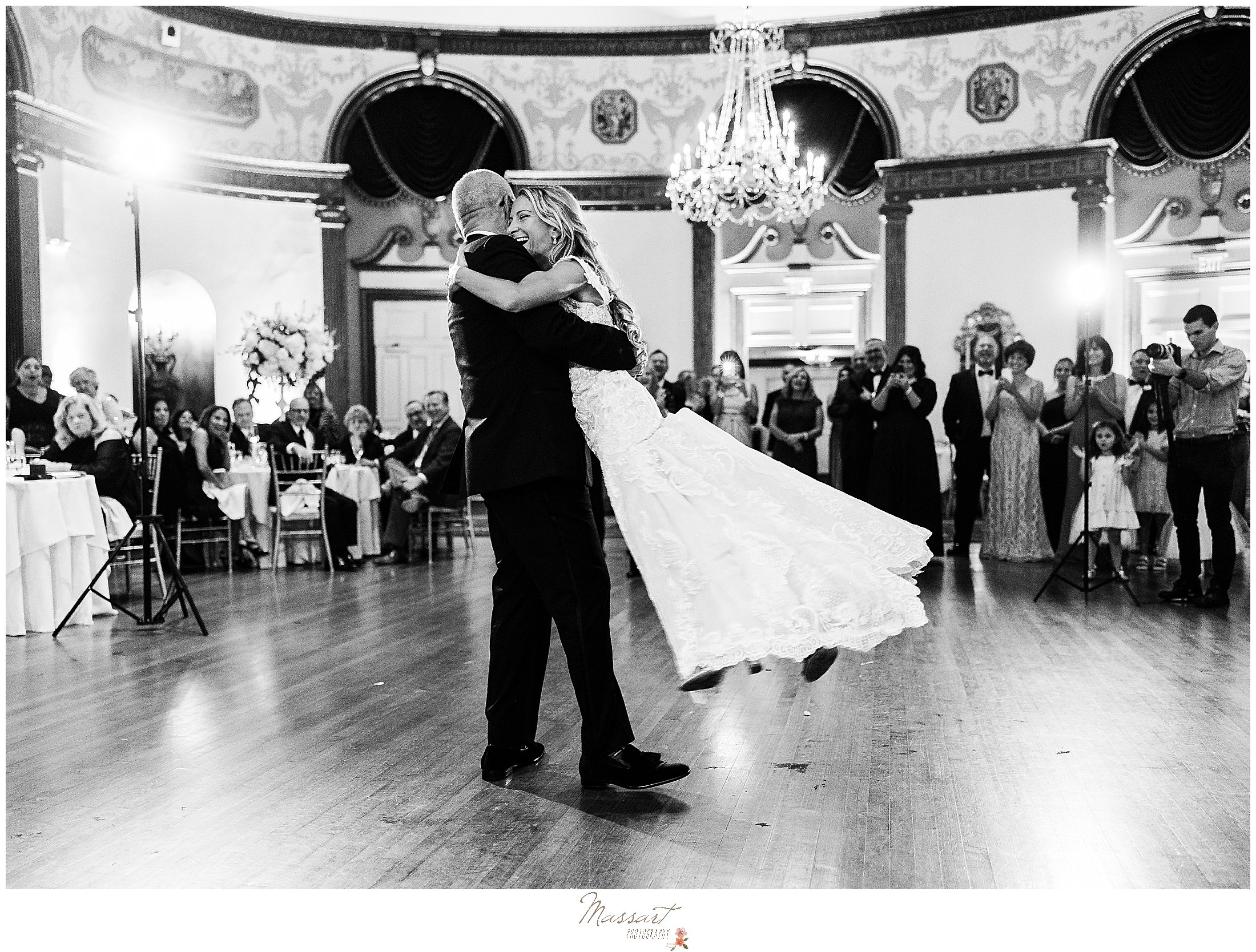 bride and dad dance during Providence RI wedding reception