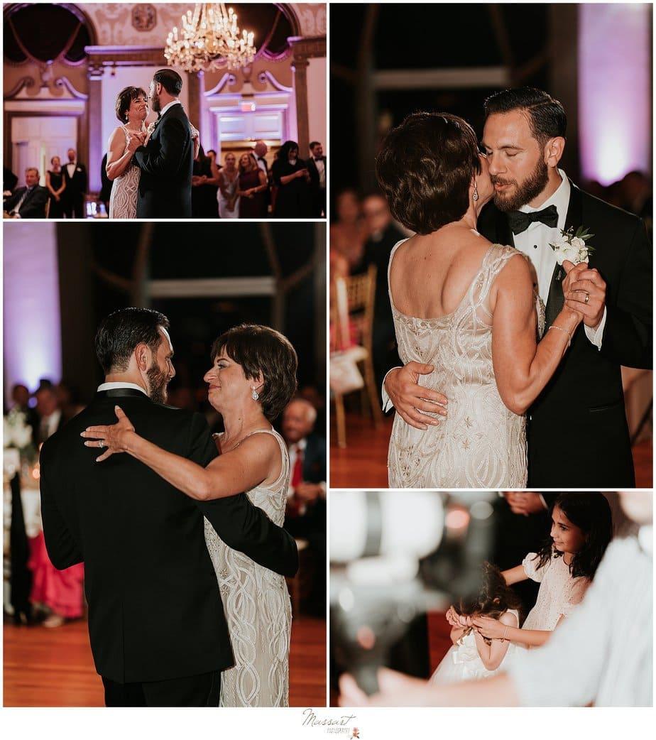 groom and mom dance during Providence RI wedding reception