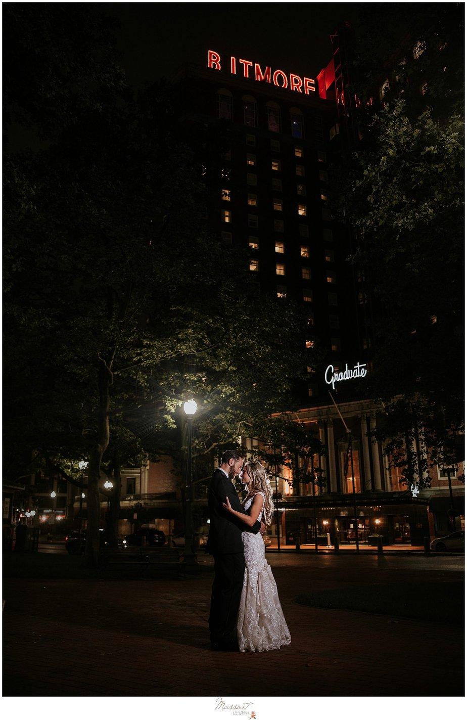 nighttime wedding portraits outside the Graduate Providence