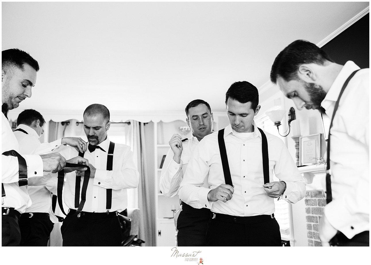 groom and groomsmen prepare for RI wedding