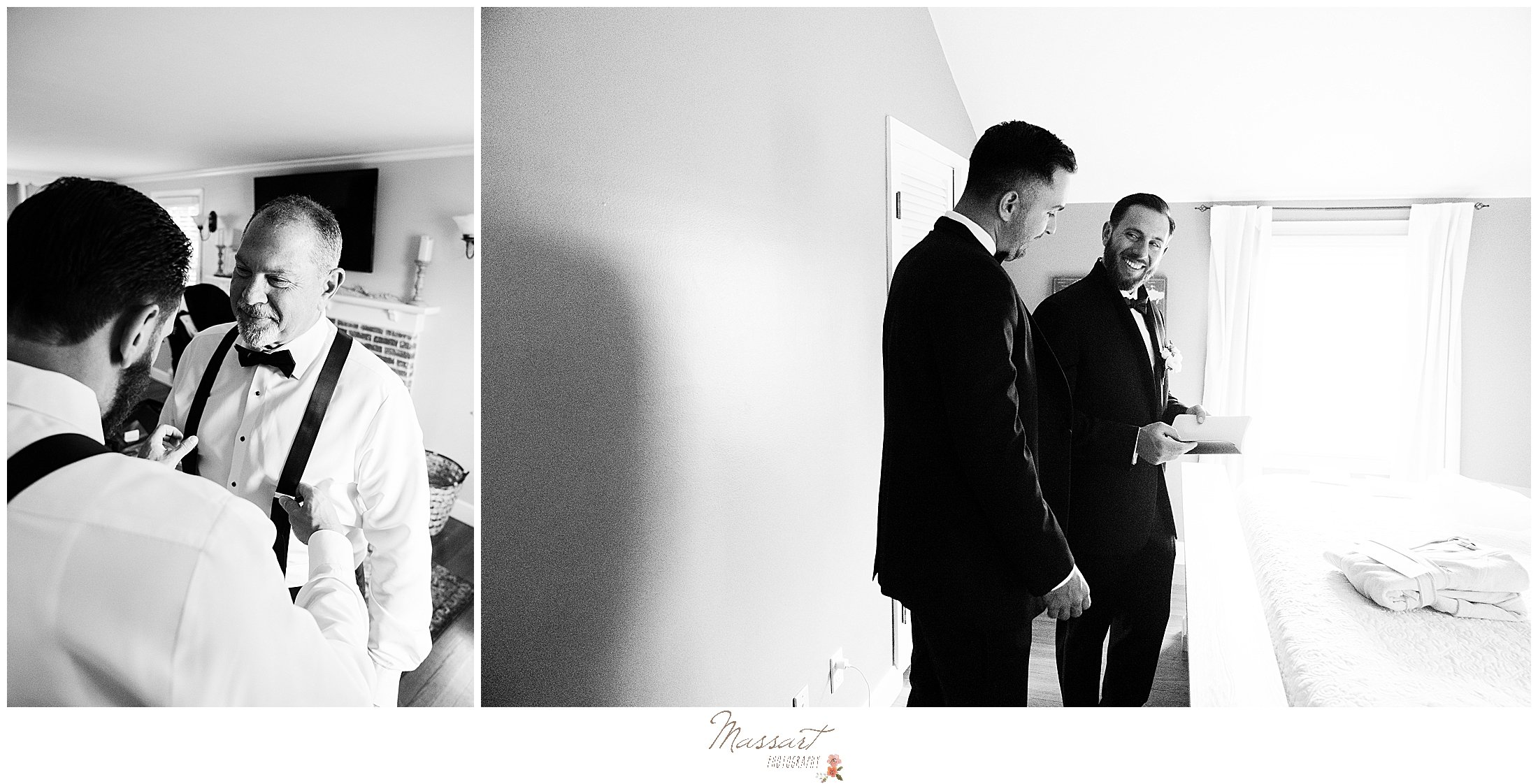 groom and groomsmen prepare for RI wedding day at home