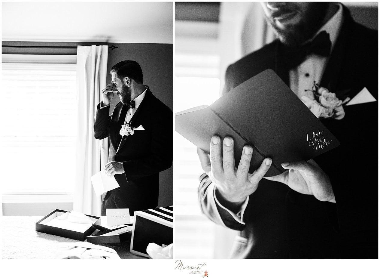 groom opens gift on wedding day