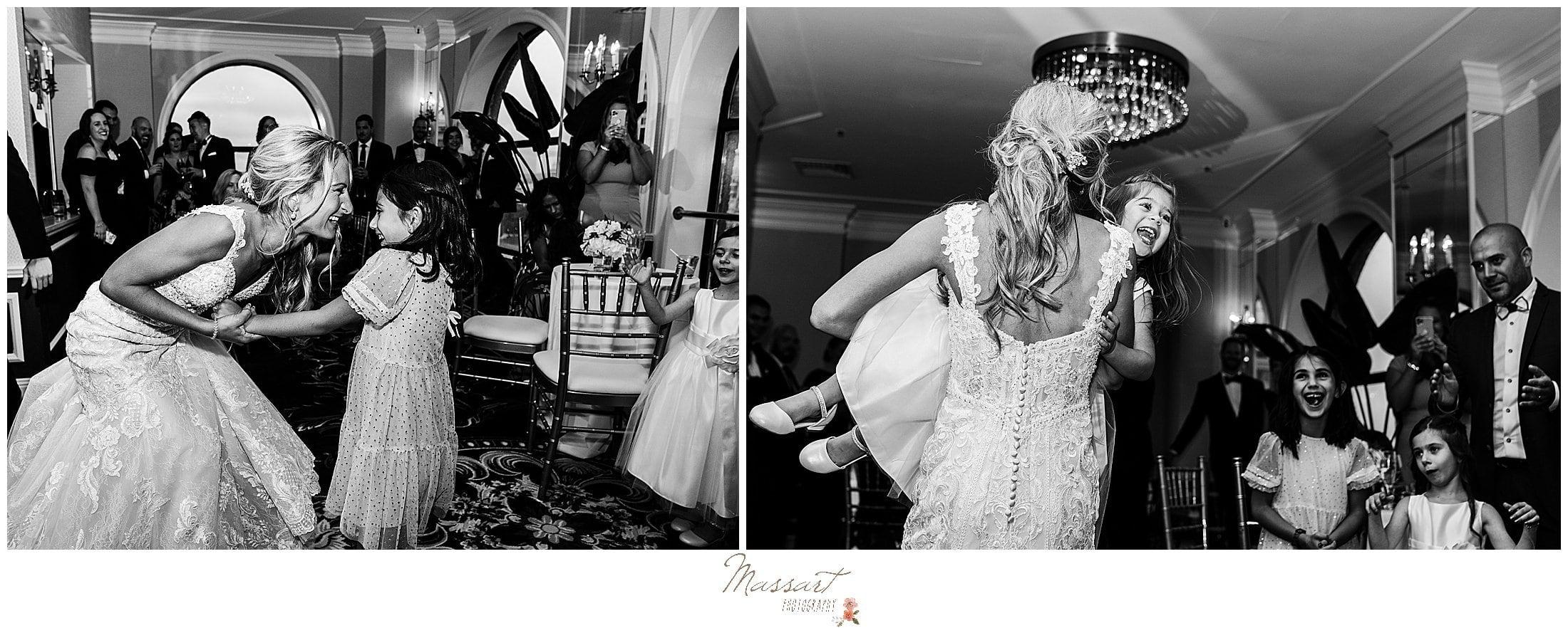 bride dances during RI wedding reception with kids