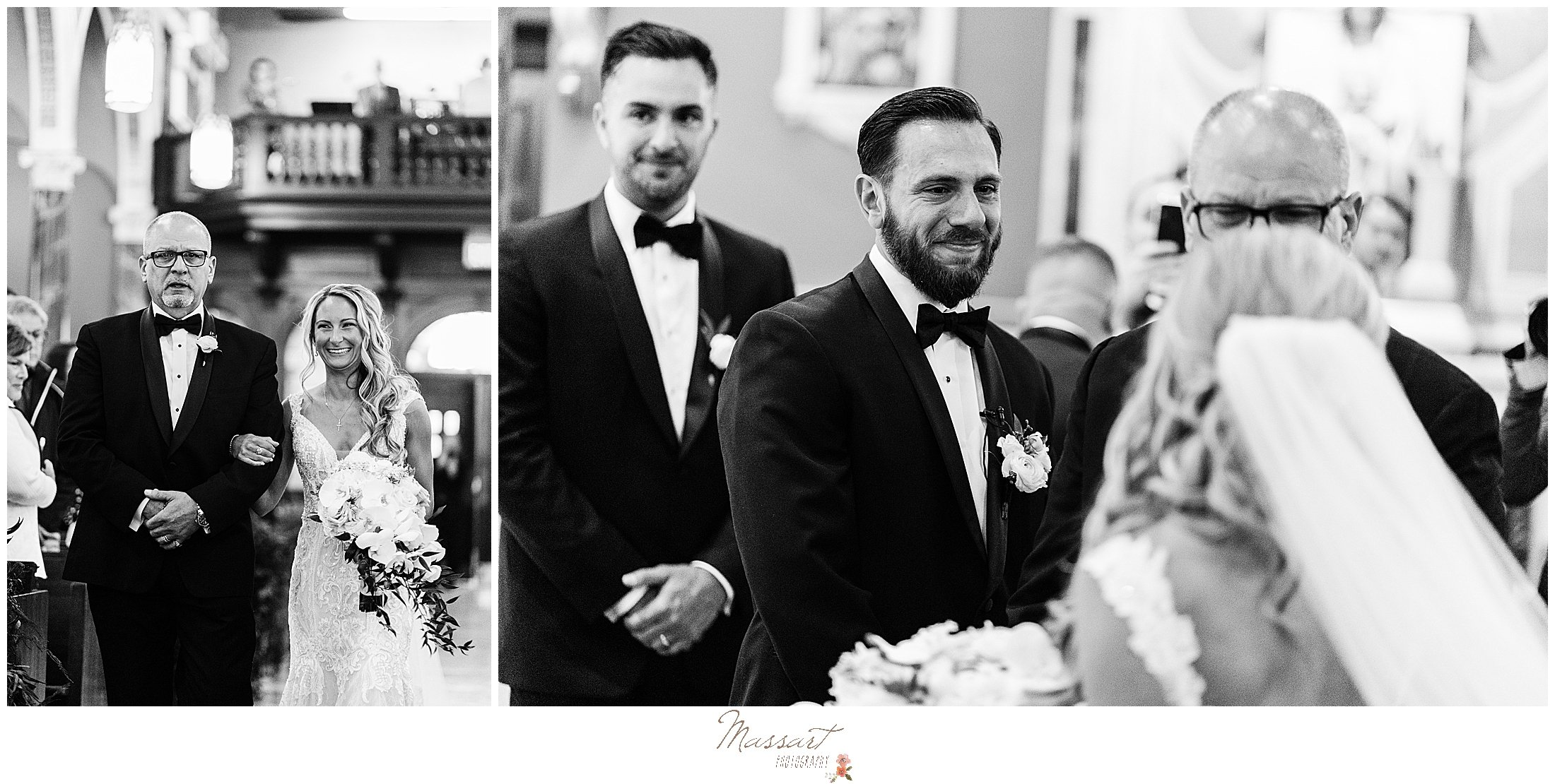 groom cries looking at bride during traditional church wedding in Rhode Island