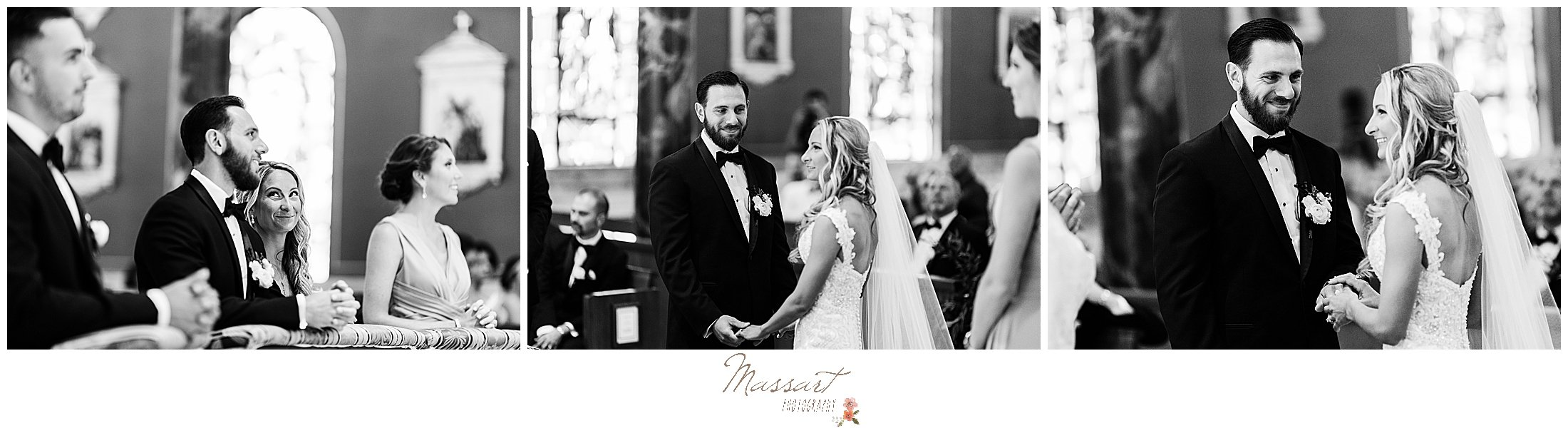 bride and groom exchange vows during traditional church wedding in Rhode Island