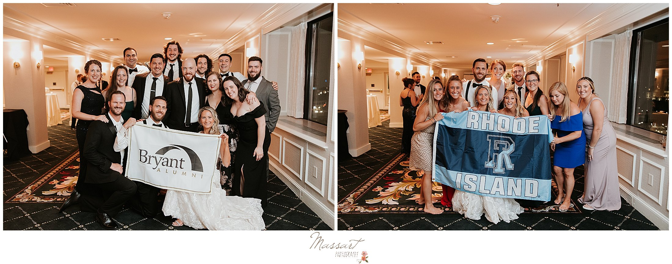 couple poses with college friends at Graduate Hotel wedding