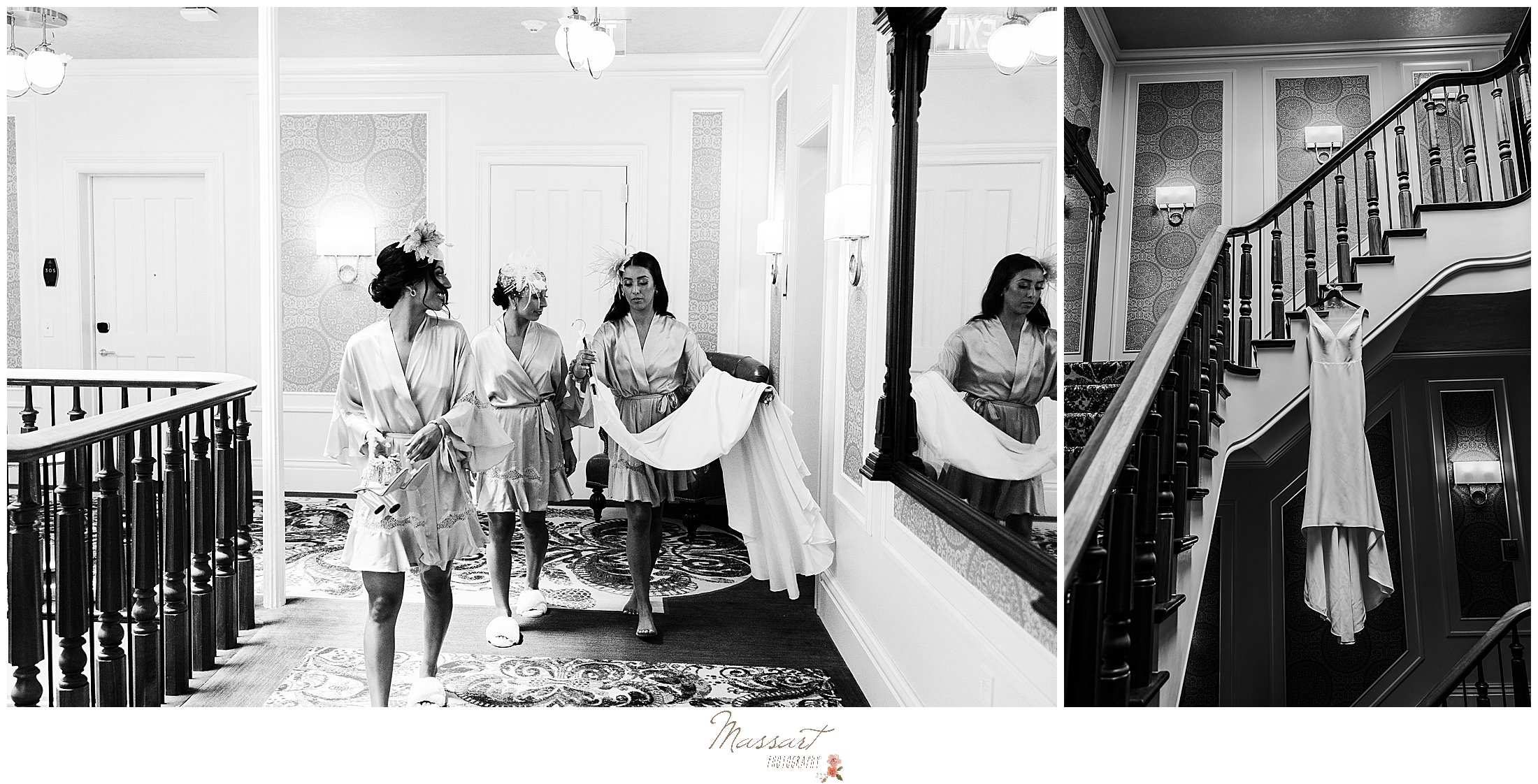 bridesmaids carry the wedding dress in NY