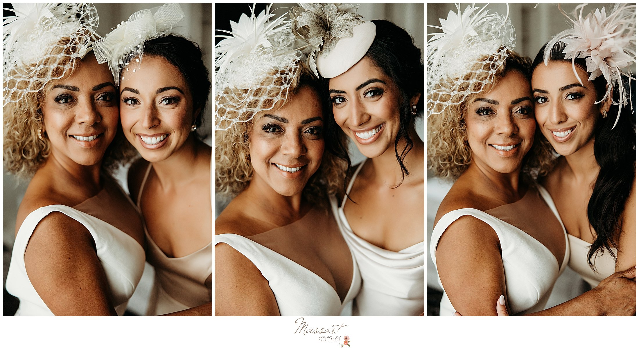 bride poses with daughters for RI photographer