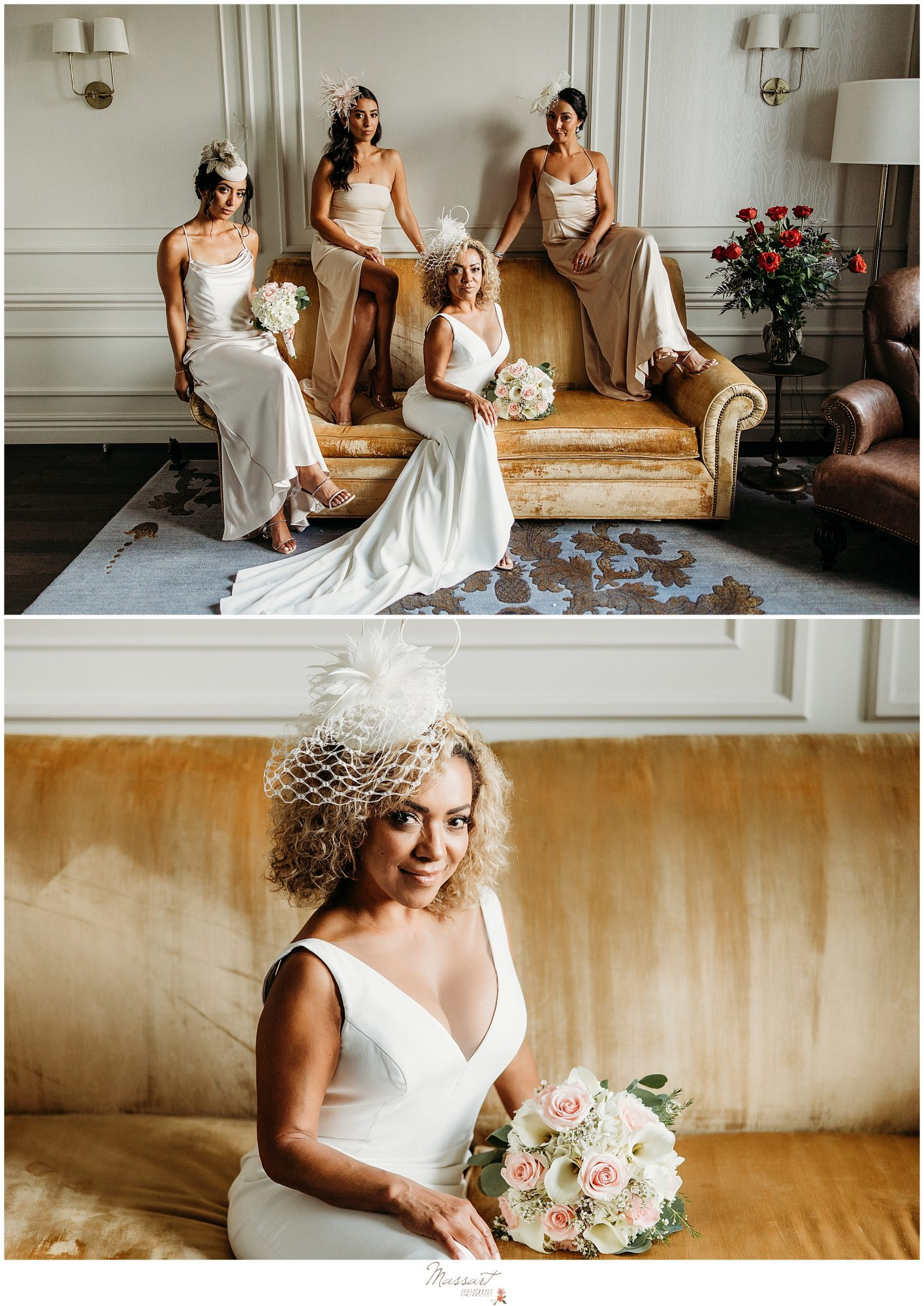 Glam portrait of bride and bridal party by RI photographer