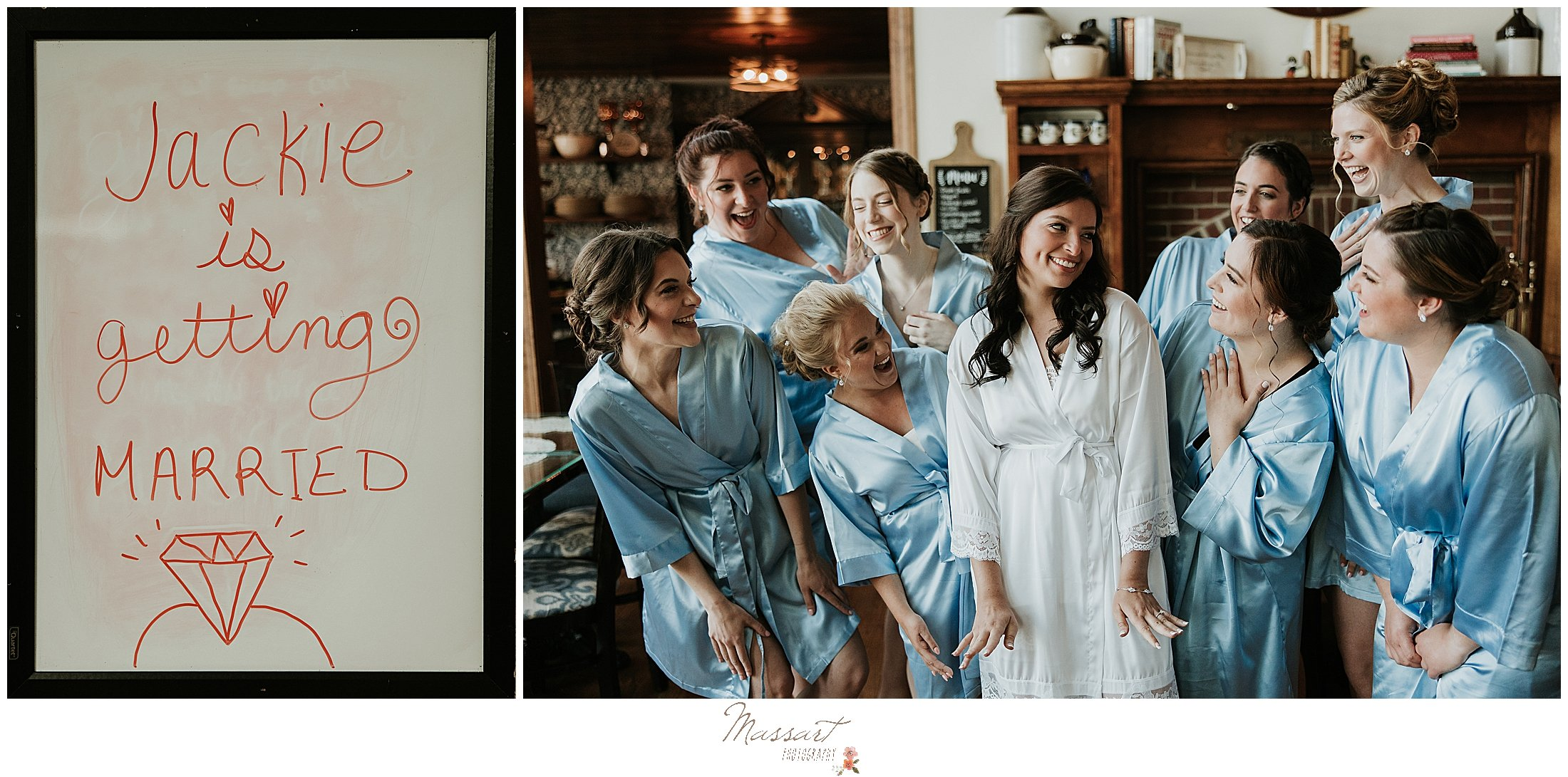 Bride hangs with bridesmaids before her ceremony in RI