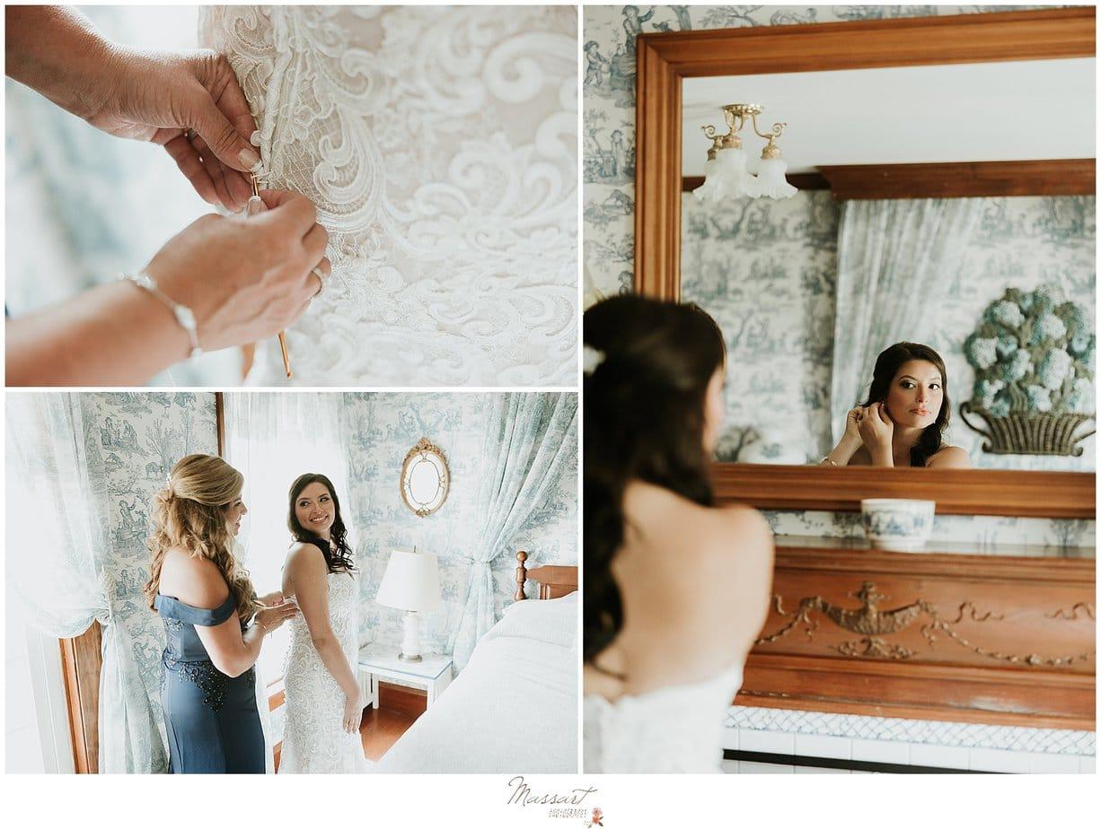 Massart Photography RI captures a bride getting ready at five bridge inn