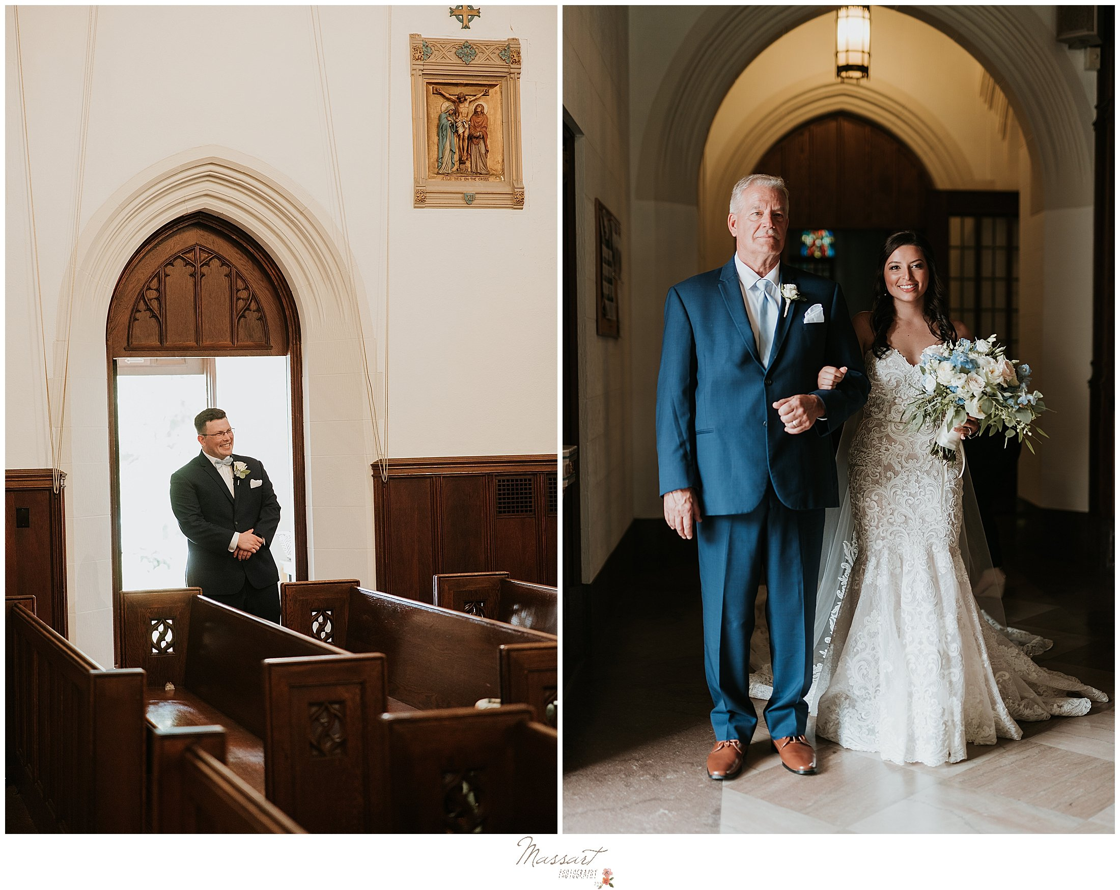 Bride and her dad are captured by Rhode Island photographers