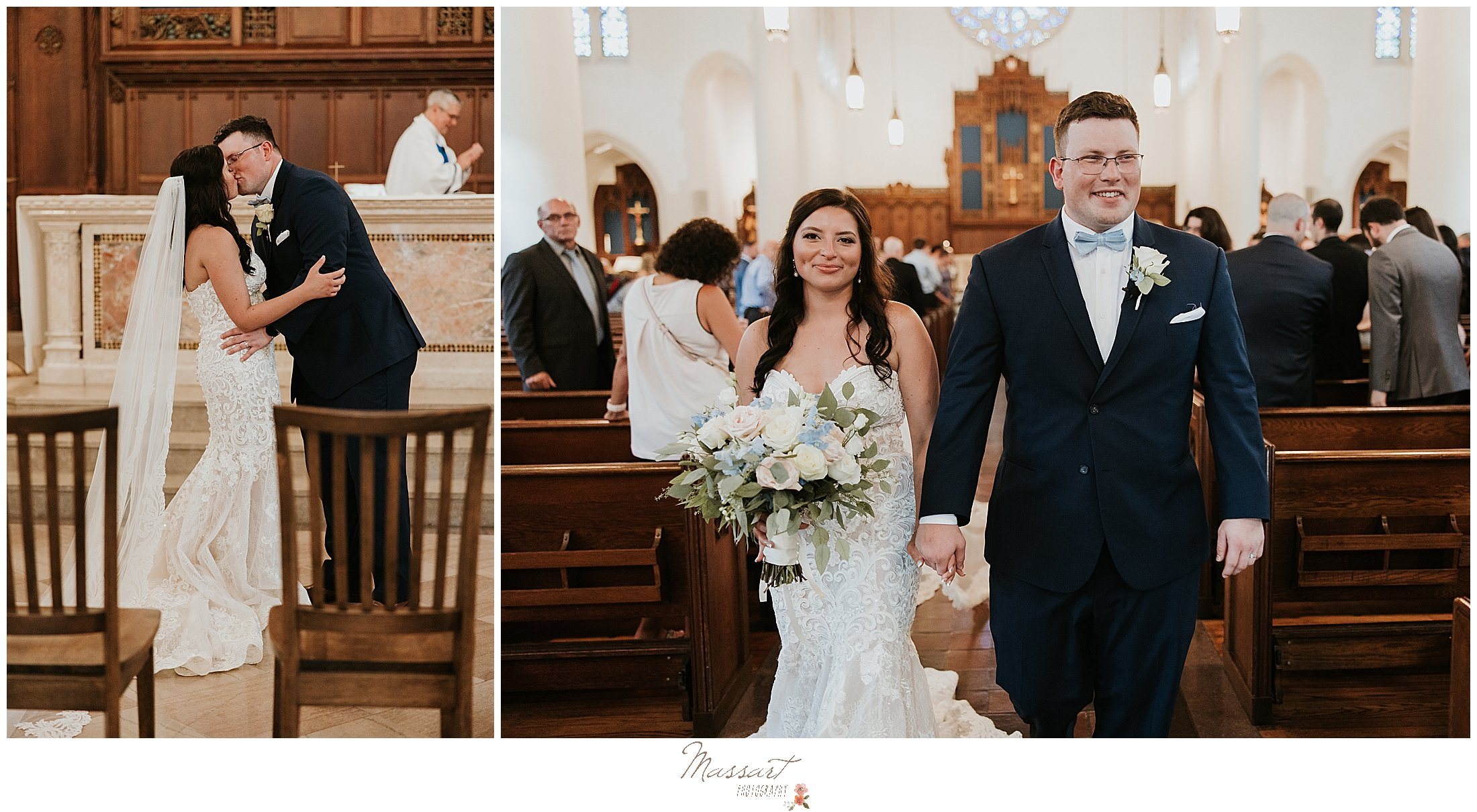 Just married couple walks out of church and is photographed by RI family and wedding photographers