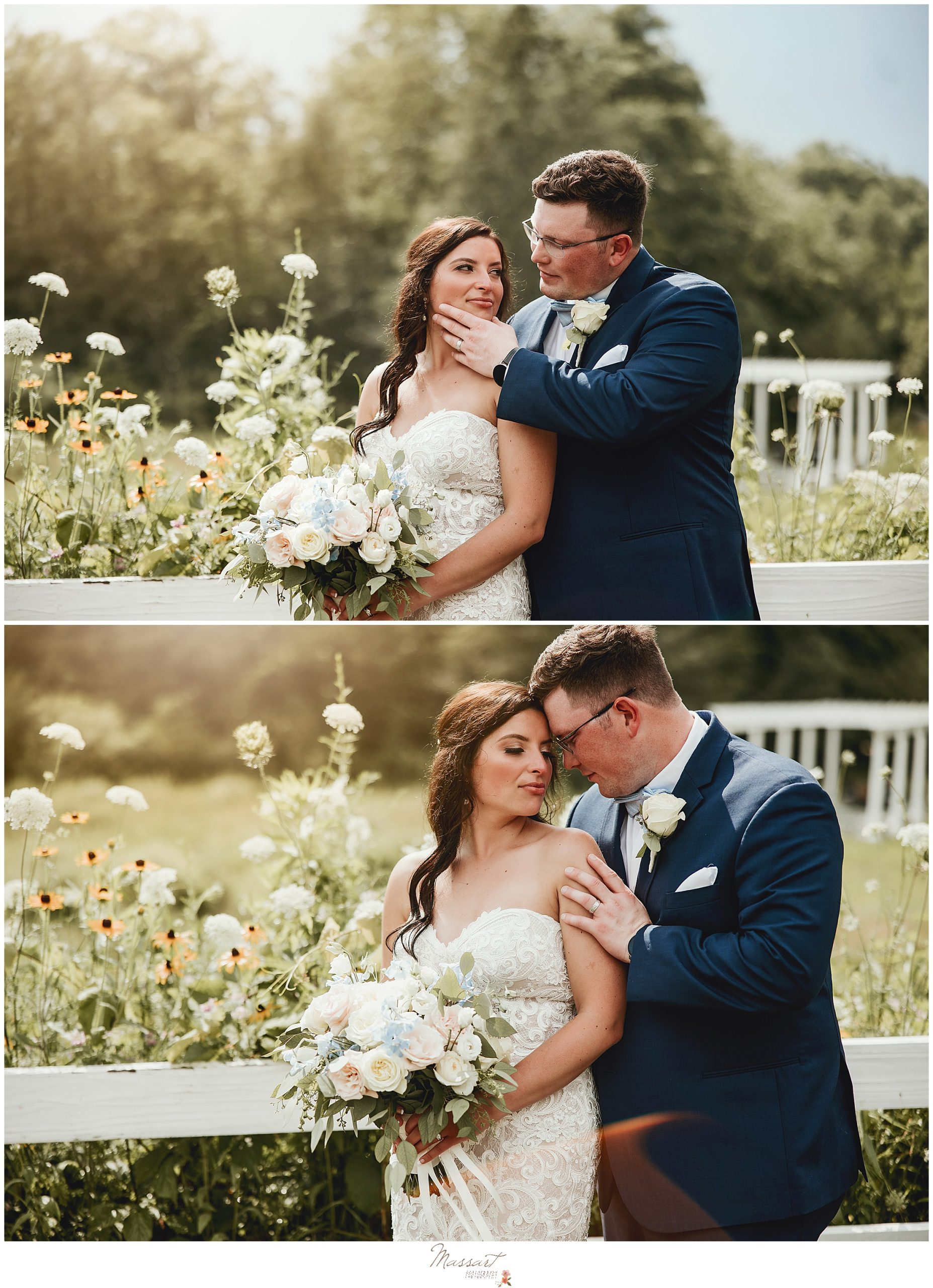 Couple poses in the garden at Five Bridge Inn so Massart Photography can take their pictures