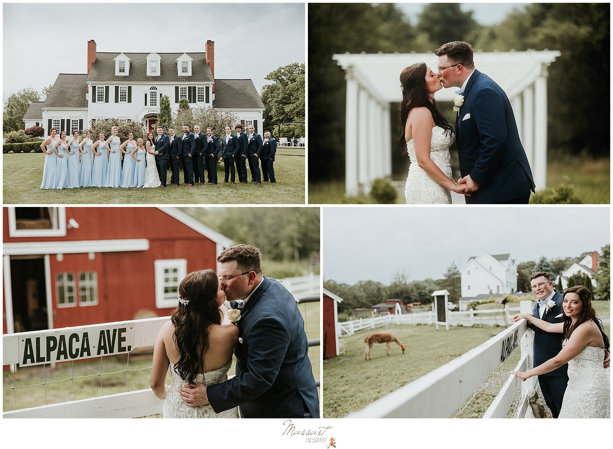 Massart Photographers capture couple with llamas at five bridge inn in MA