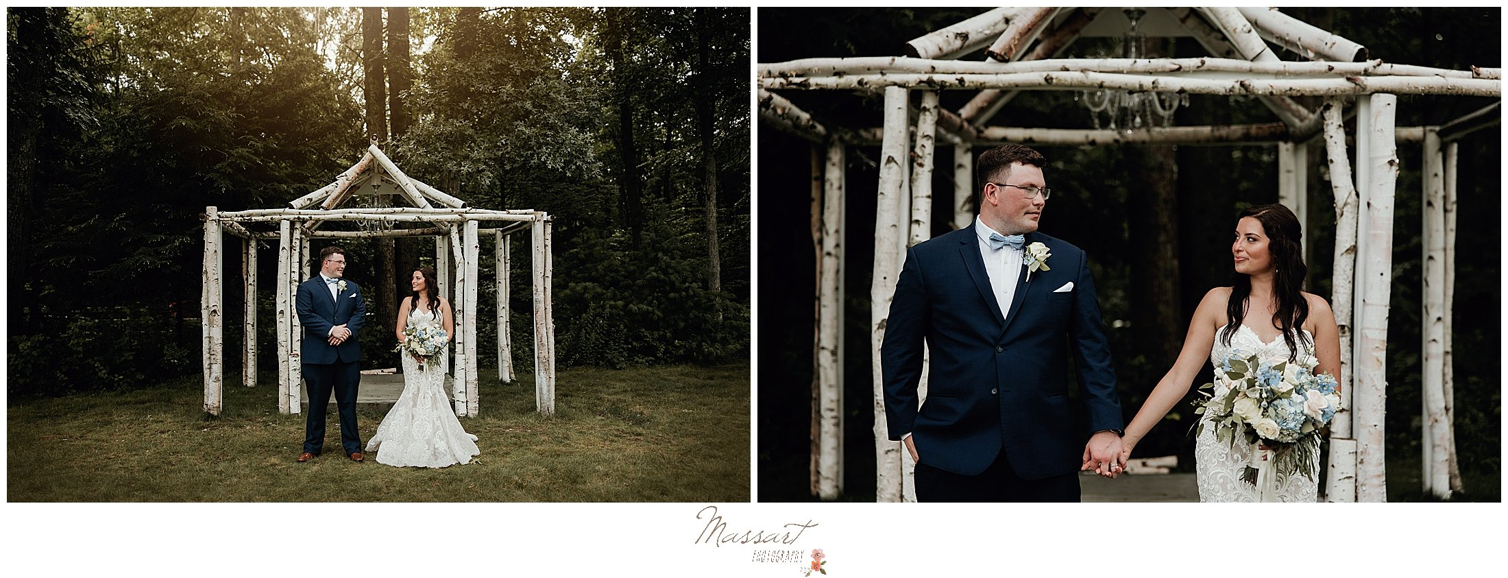 Couple poses under trellis at Five Bridge Inn in MA for RI photographers