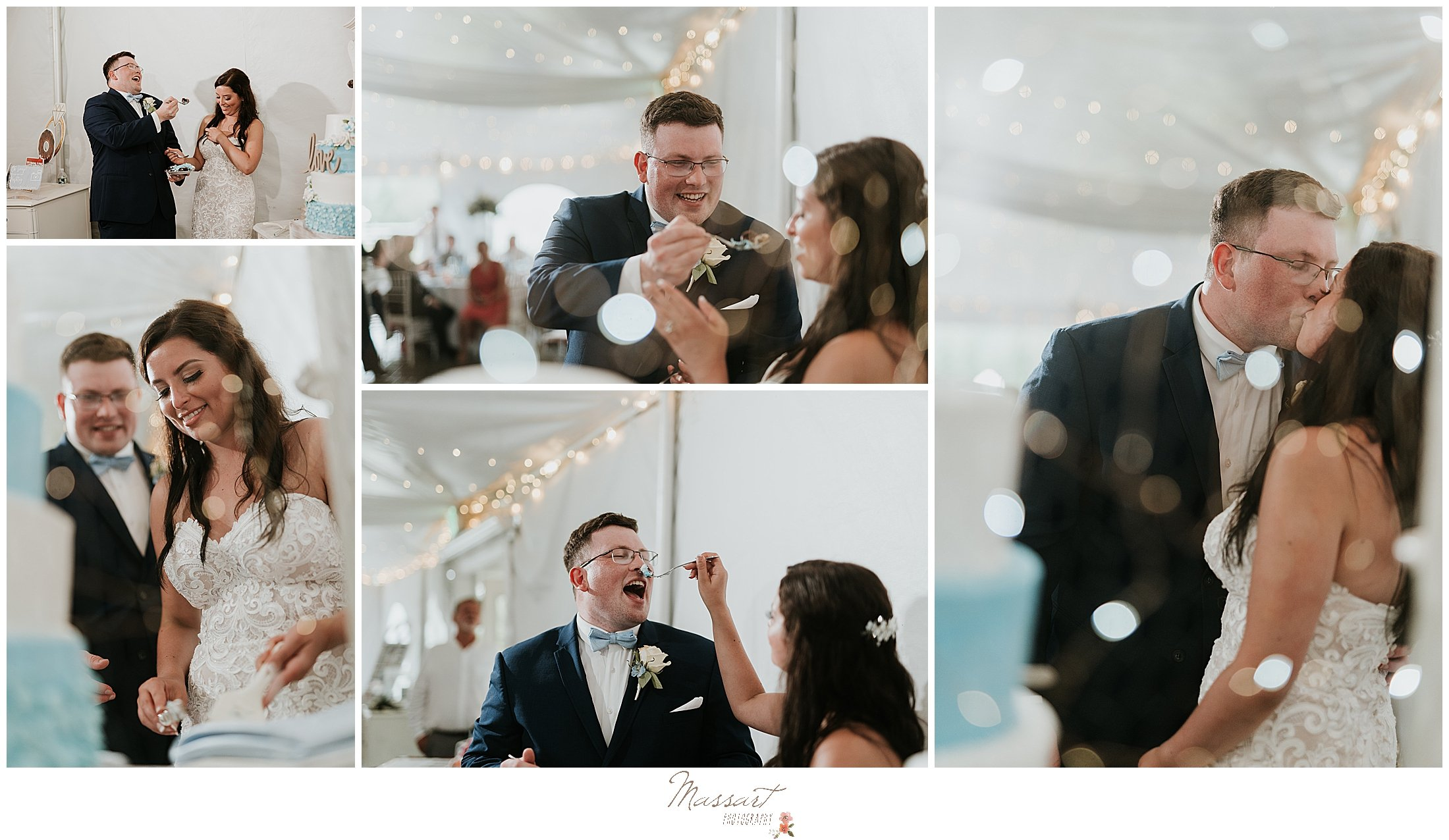 Rhode Island wedding cake cutting pictures