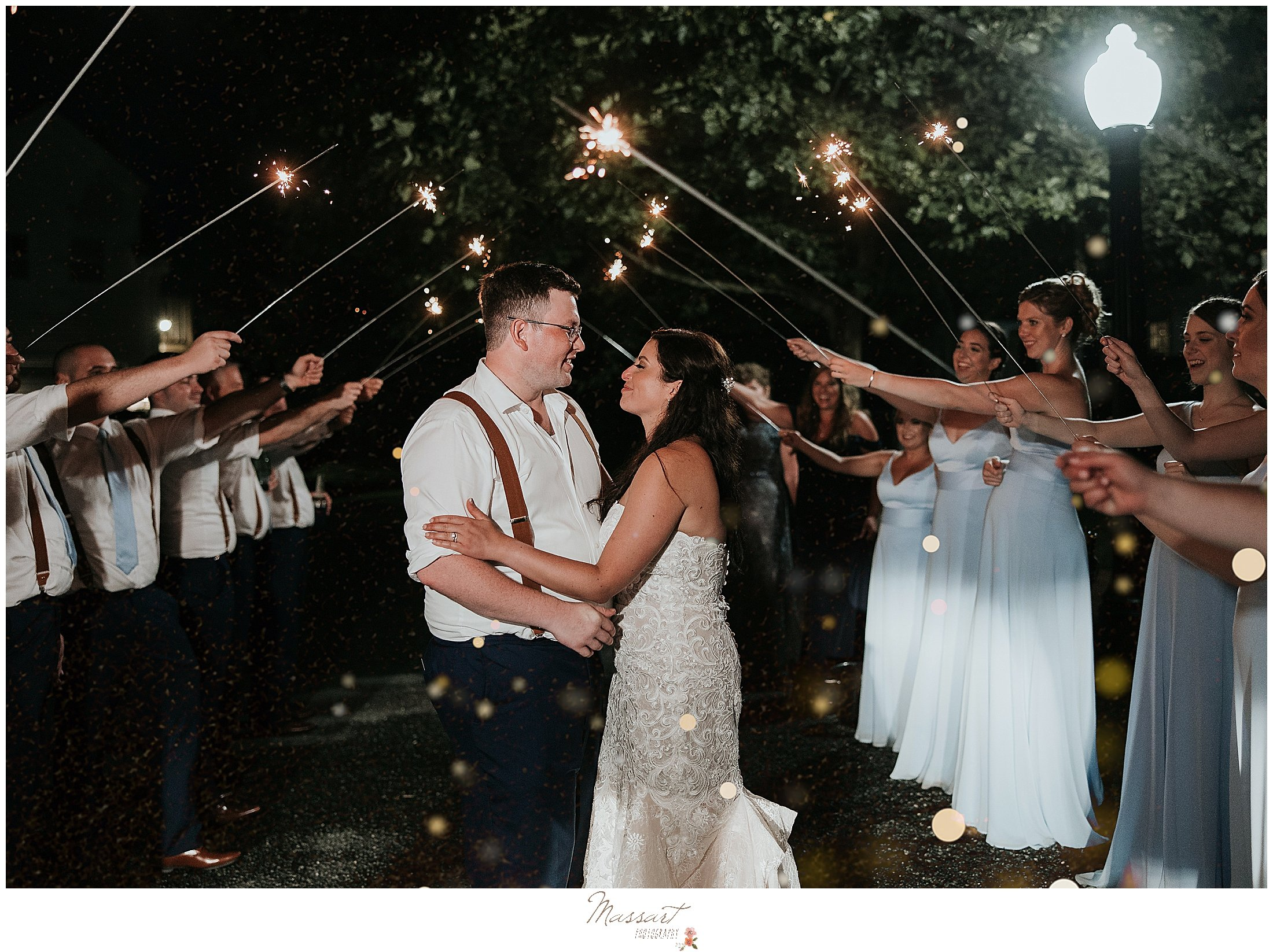Wedding sparkler exit in MA by RI photographers