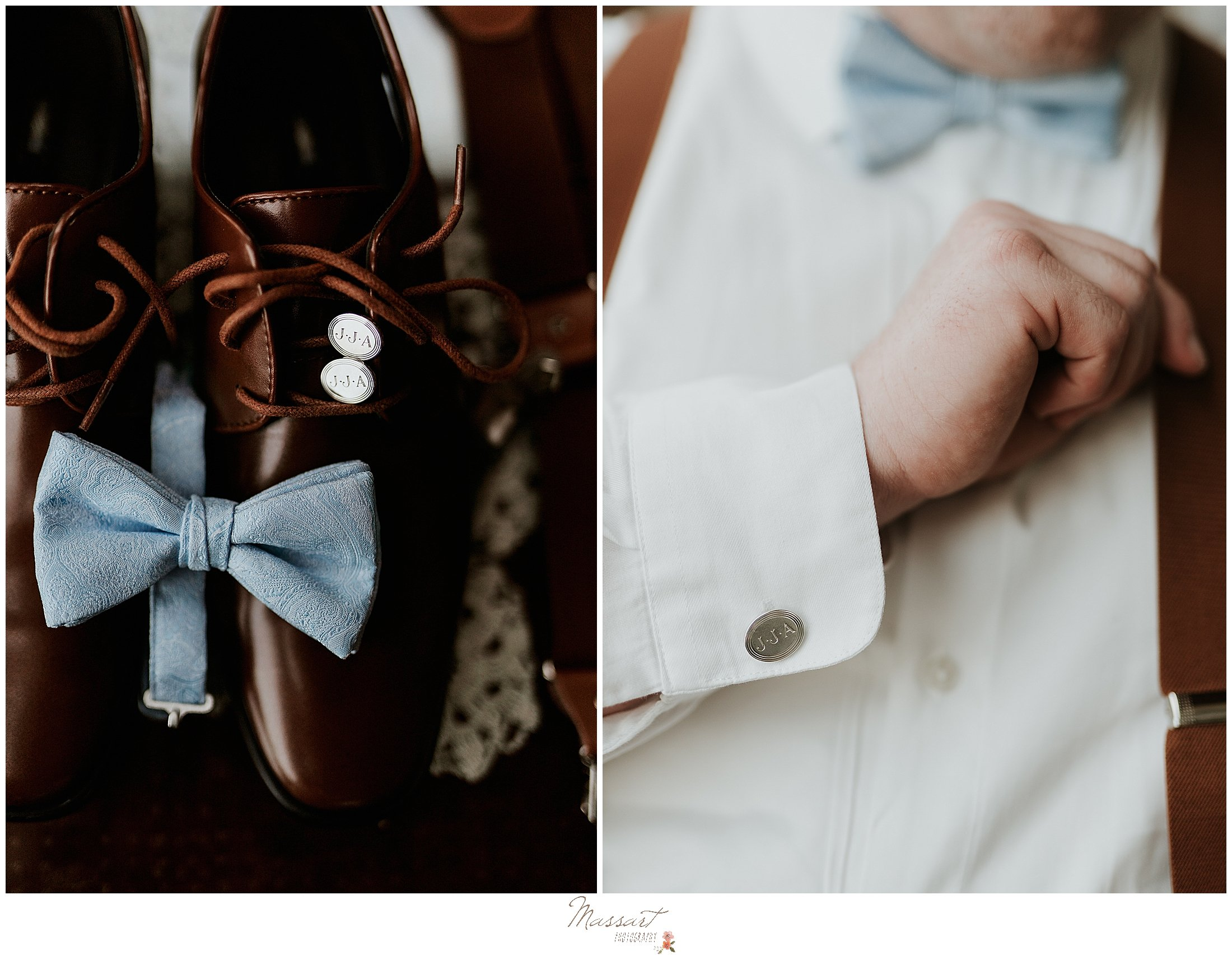 Groom gets ready for Rhode Island wedding by family photographers