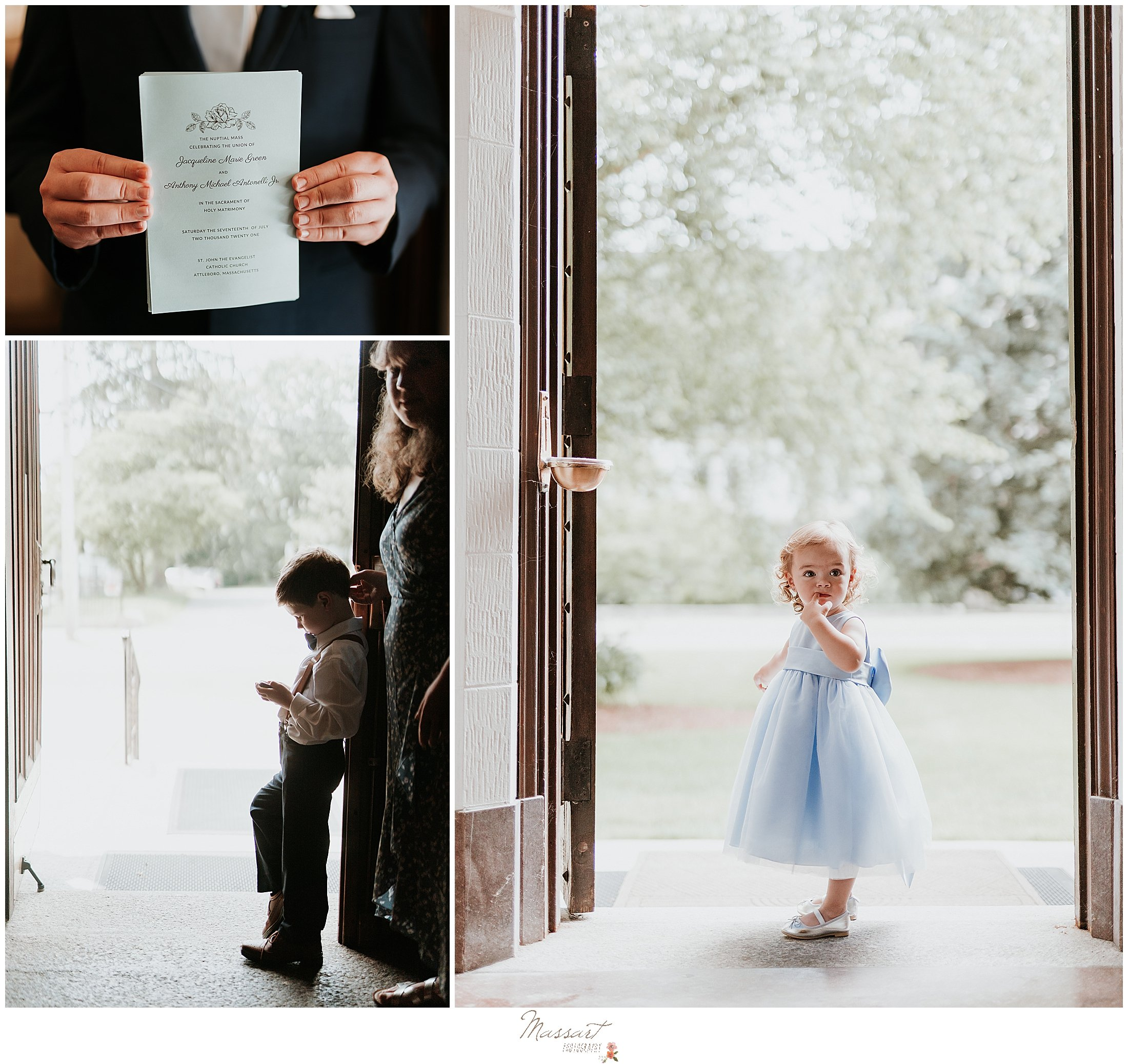 Flower girl and ring bearer are captured by Massart Photography in RI
