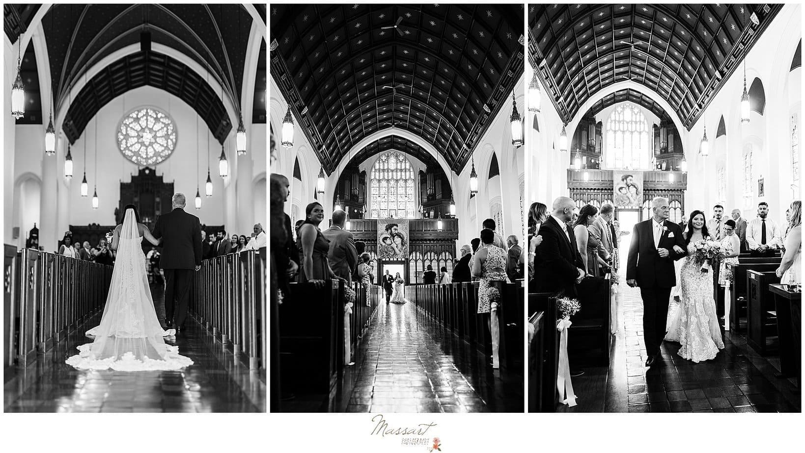 RI photographers capture bride walking down the aisle