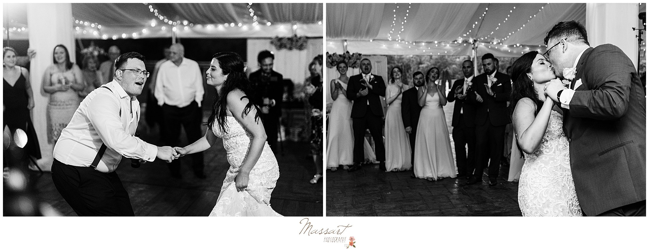 Couple shares a first dance at their MA wedding