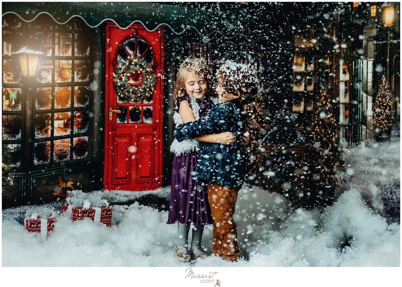 Children play in snow at RI photography studio