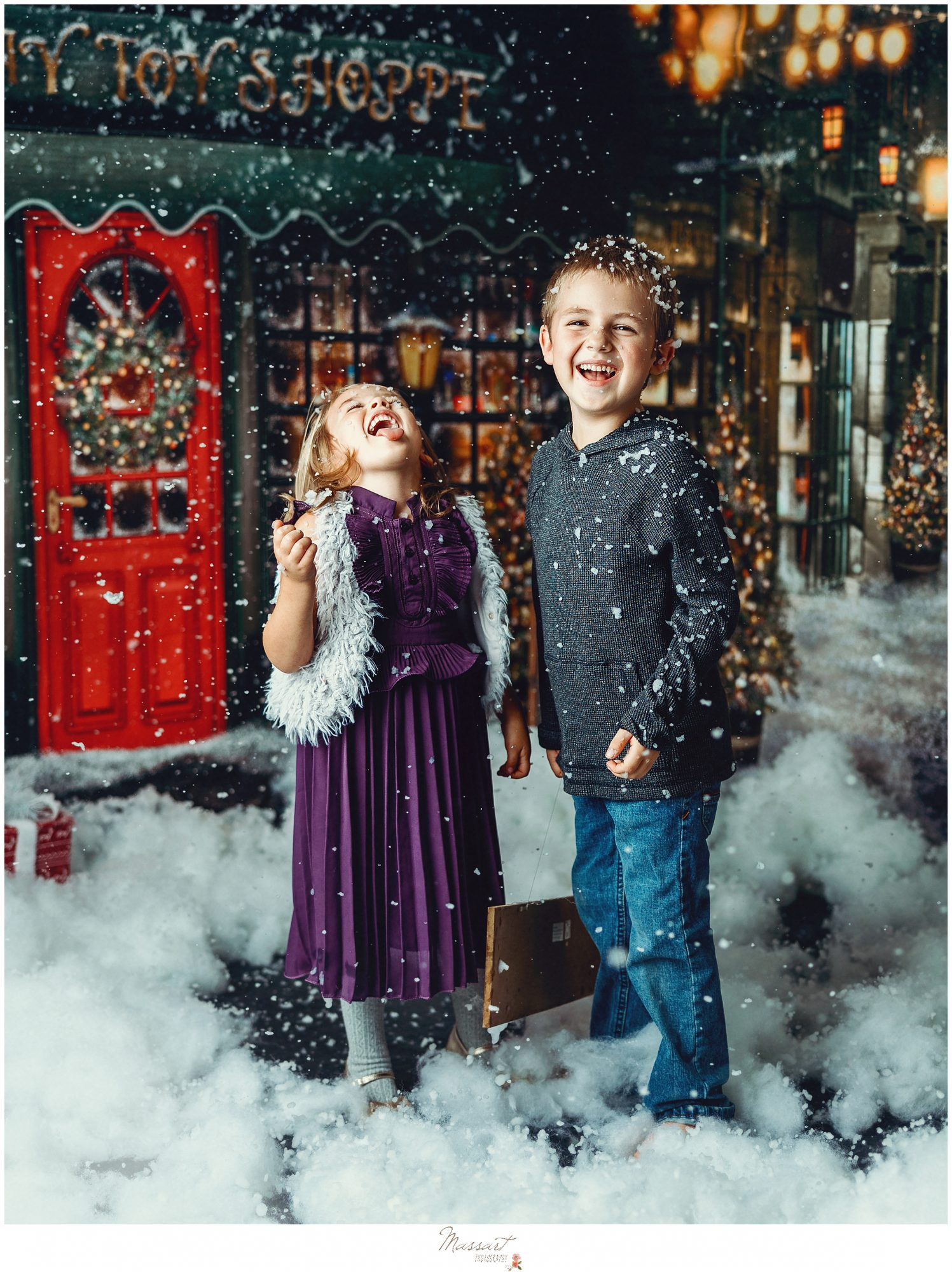 Kids play in snow during their christmas photos in RI